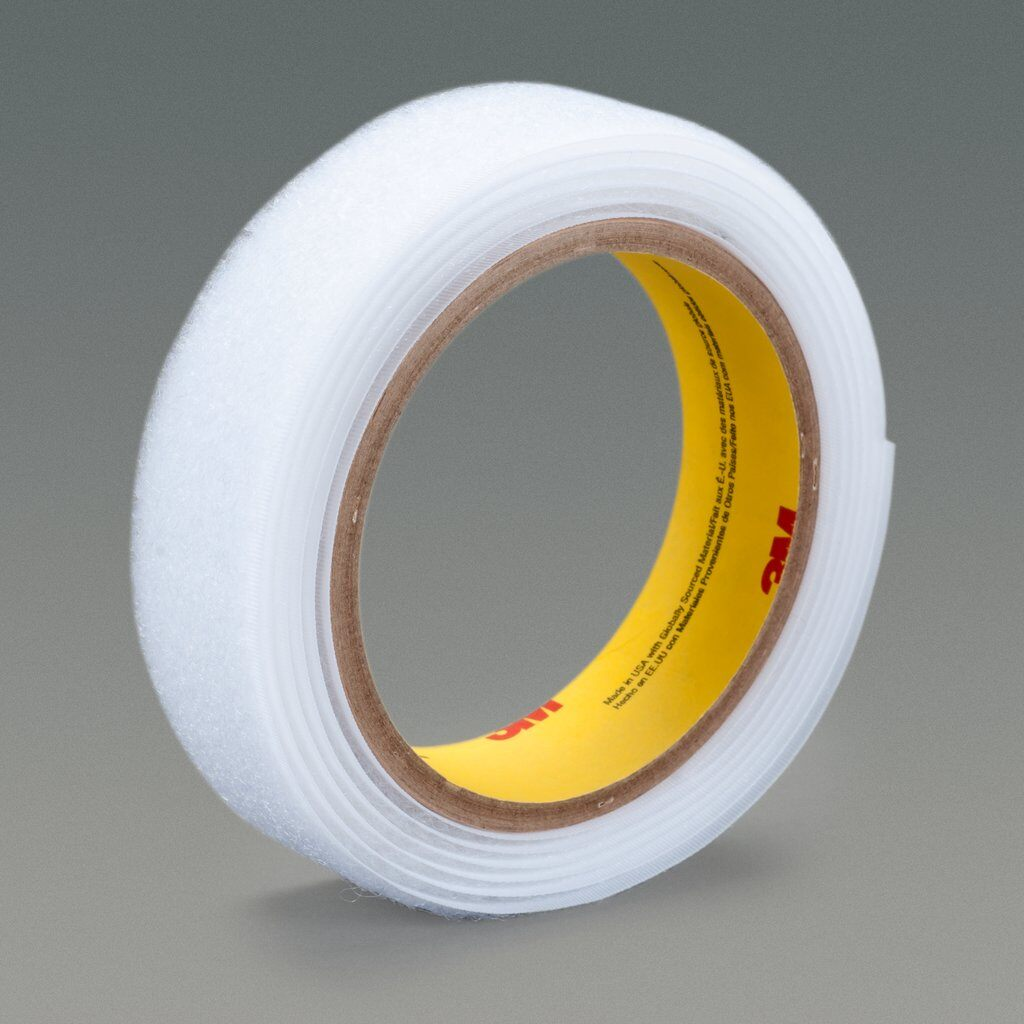 """3M™ SJ3526N-White-2""""x50yd Reclosable Hook Fastener Tape, 50 yd L x 2 in W, 0.15 in THK Engaged, Polyethylene Film Liner Adhesive, Woven Nylon Backing, White"""
