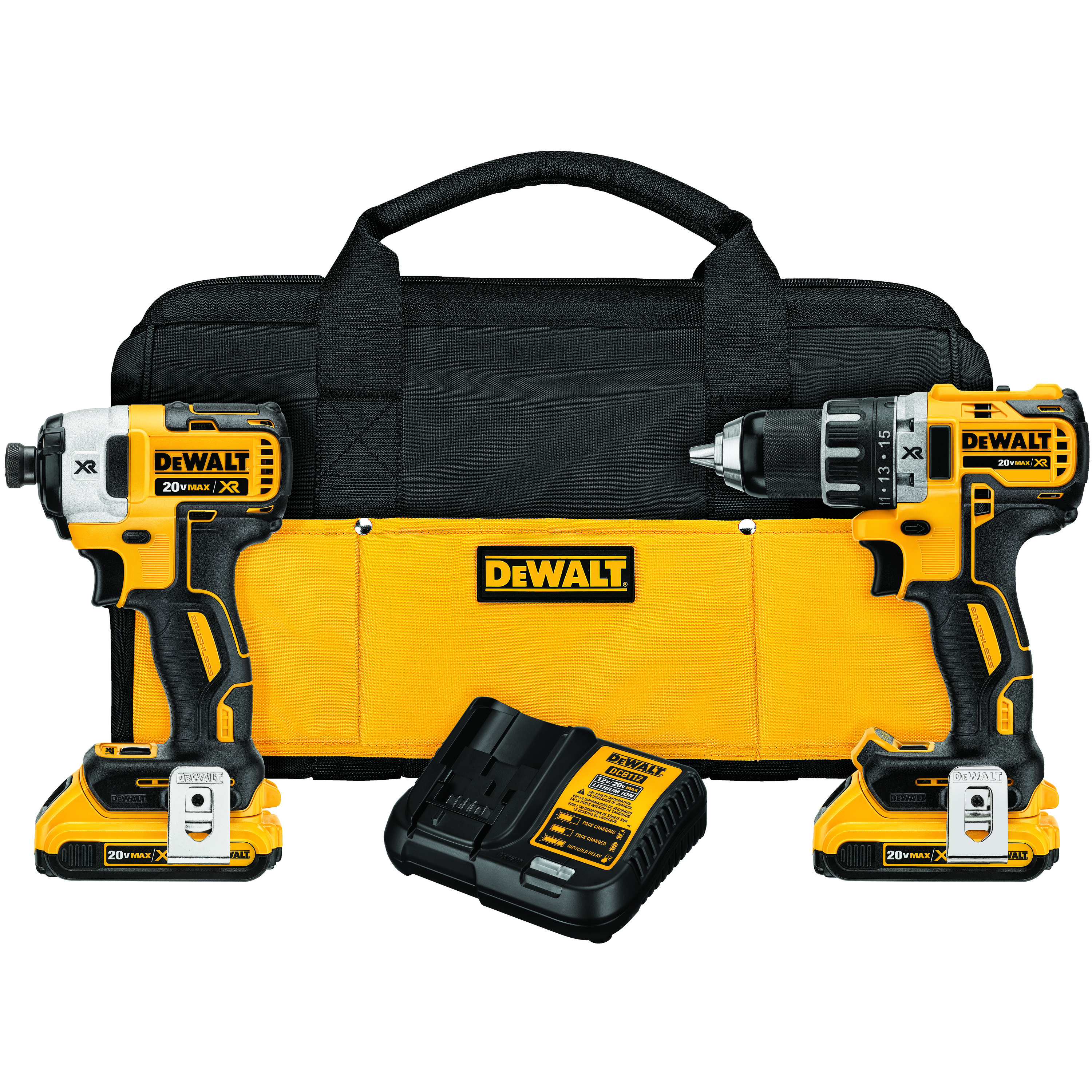 DeWALT® 20V MAX* MATRIX™ XR™ DCK283D2 2-Tool Compact Cordless Combination Kit, Tools: Drill, Impact Driver, 20 V, 2 Ah Lithium-Ion Battery