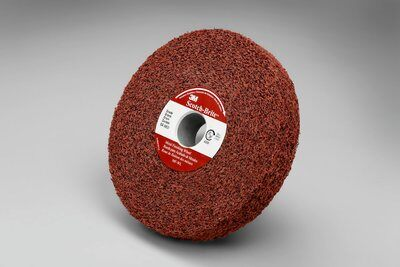 3M™ 048011-01862 MF-WL Convolute Metal Finishing Wheel, 6 in Dia Wheel, 1 in Center Hole, 1 in W Face, Medium Grade, Aluminum Oxide Abrasive