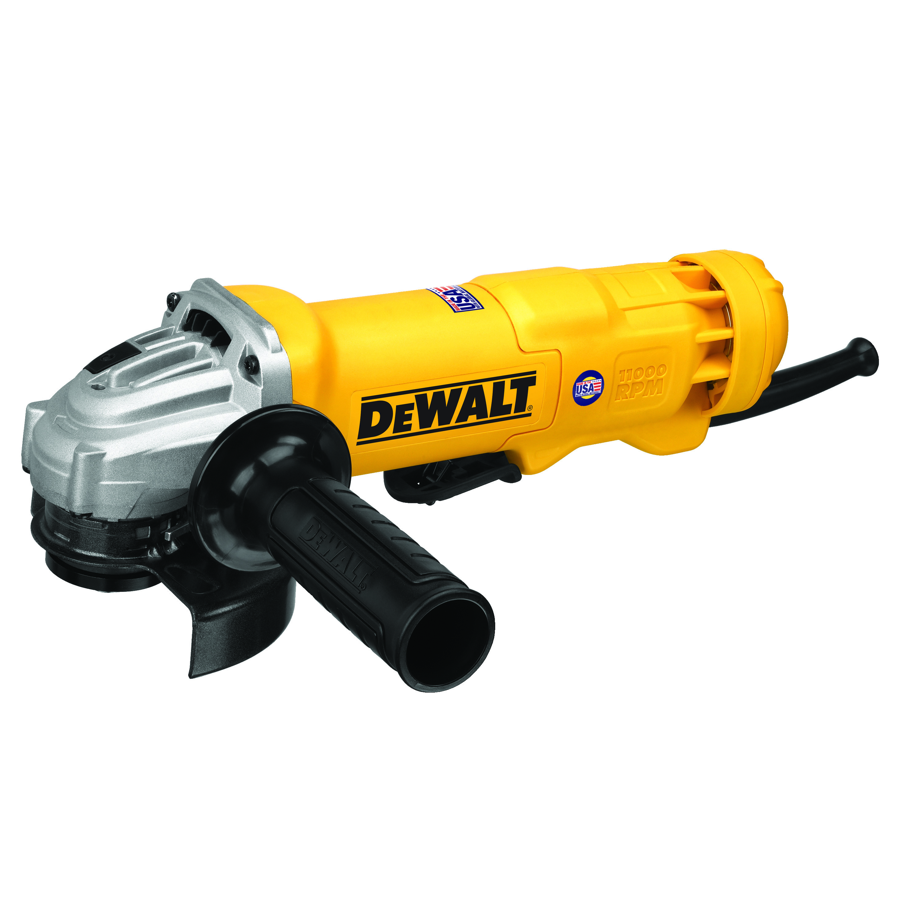 DeWALT® DWE402N Small Angle Grinder, 4-1/2 in Dia Wheel, 5/8-11 Arbor/Shank, 120 VAC, For Wheel: Quick-Change™, Yellow, Yes, Non-Locking Paddle Switch Switch