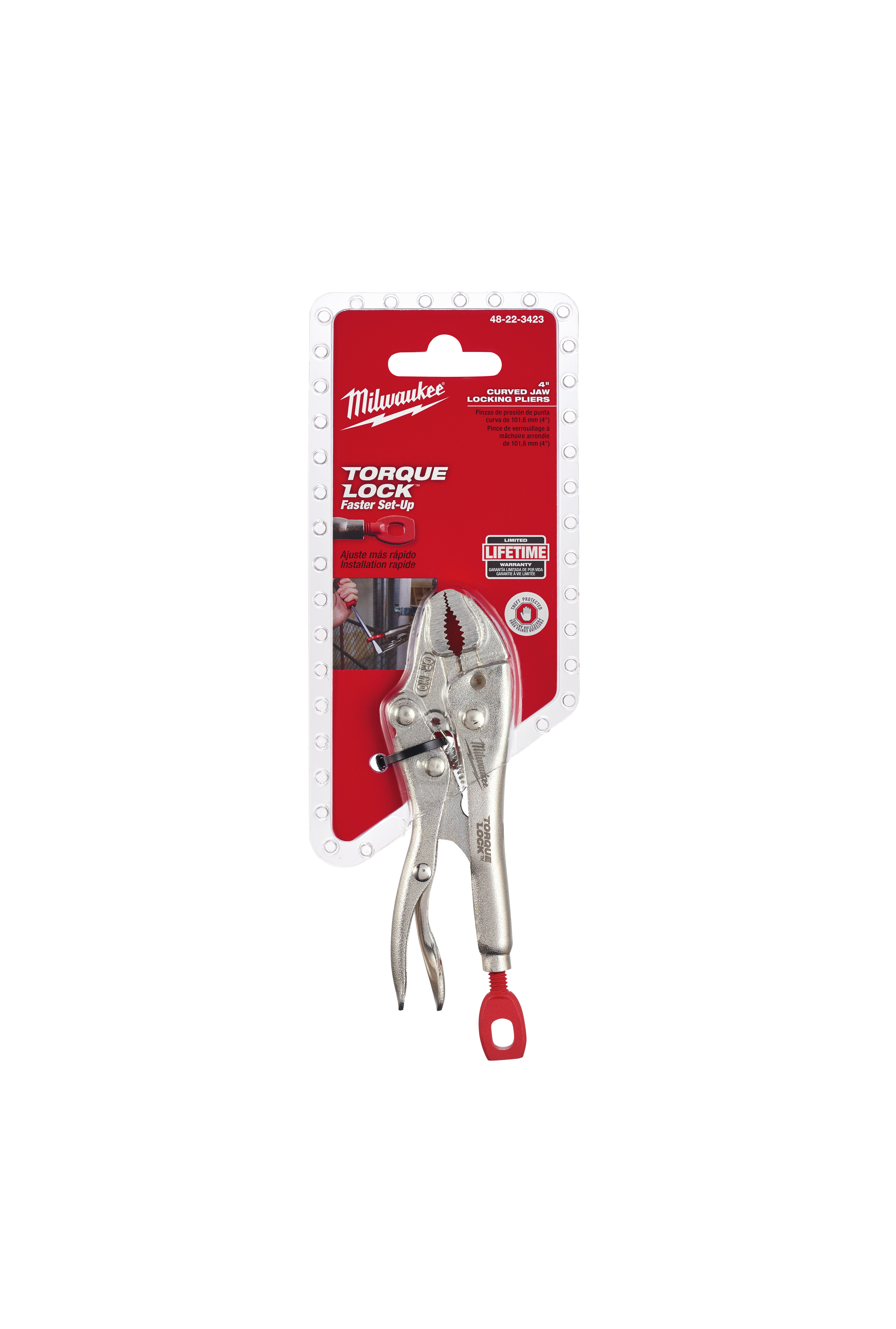 Milwaukee® TORQUE LOCK™ 48-22-3423 Standard Locking Plier, 1 in Nominal, 29/32 in L x 3/8 in W Forged Alloy Steel Curved Jaw, 4 in OAL