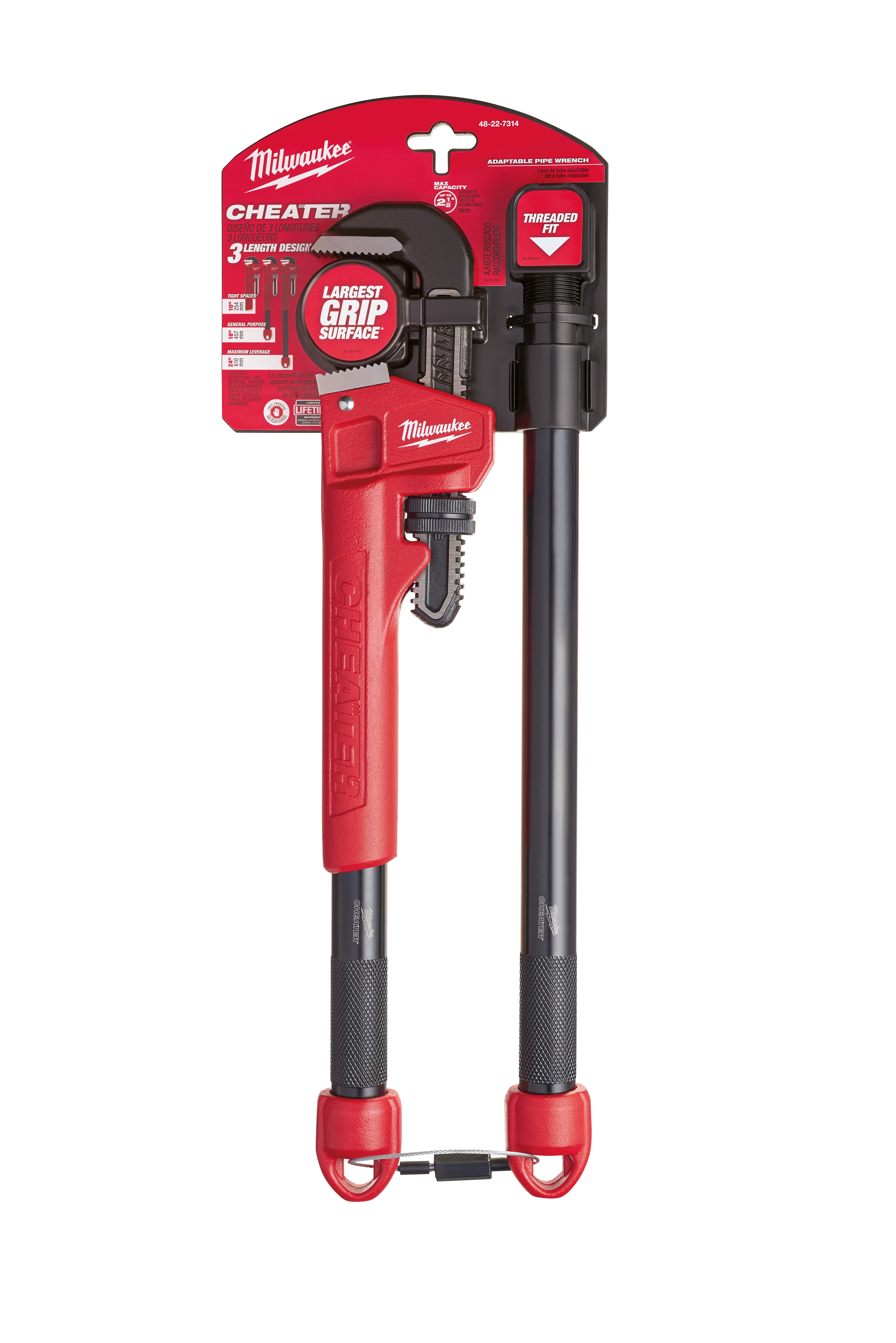 Milwaukee® OVERBITE JAW ™ 48-22-7314 Adaptable Pipe Wrench, 21.8 in OAL, Hook Jaw, Steel Handle