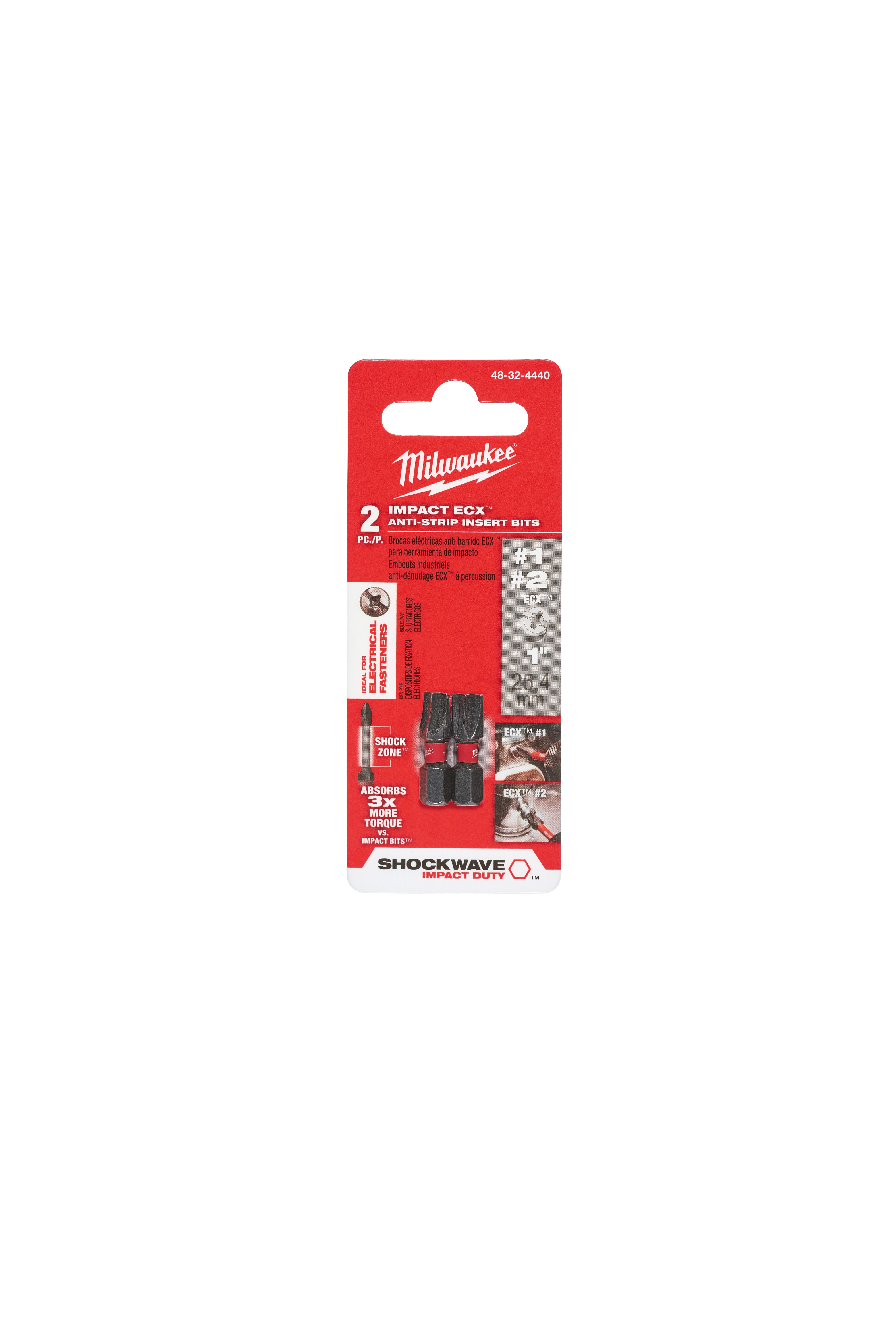 Milwaukee® SHOCKWAVE™ 48-32-4440 Anti-Strip Impact Driver Bit, ECX1/ECX2, 1 in OAL, 1/4 in, Steel