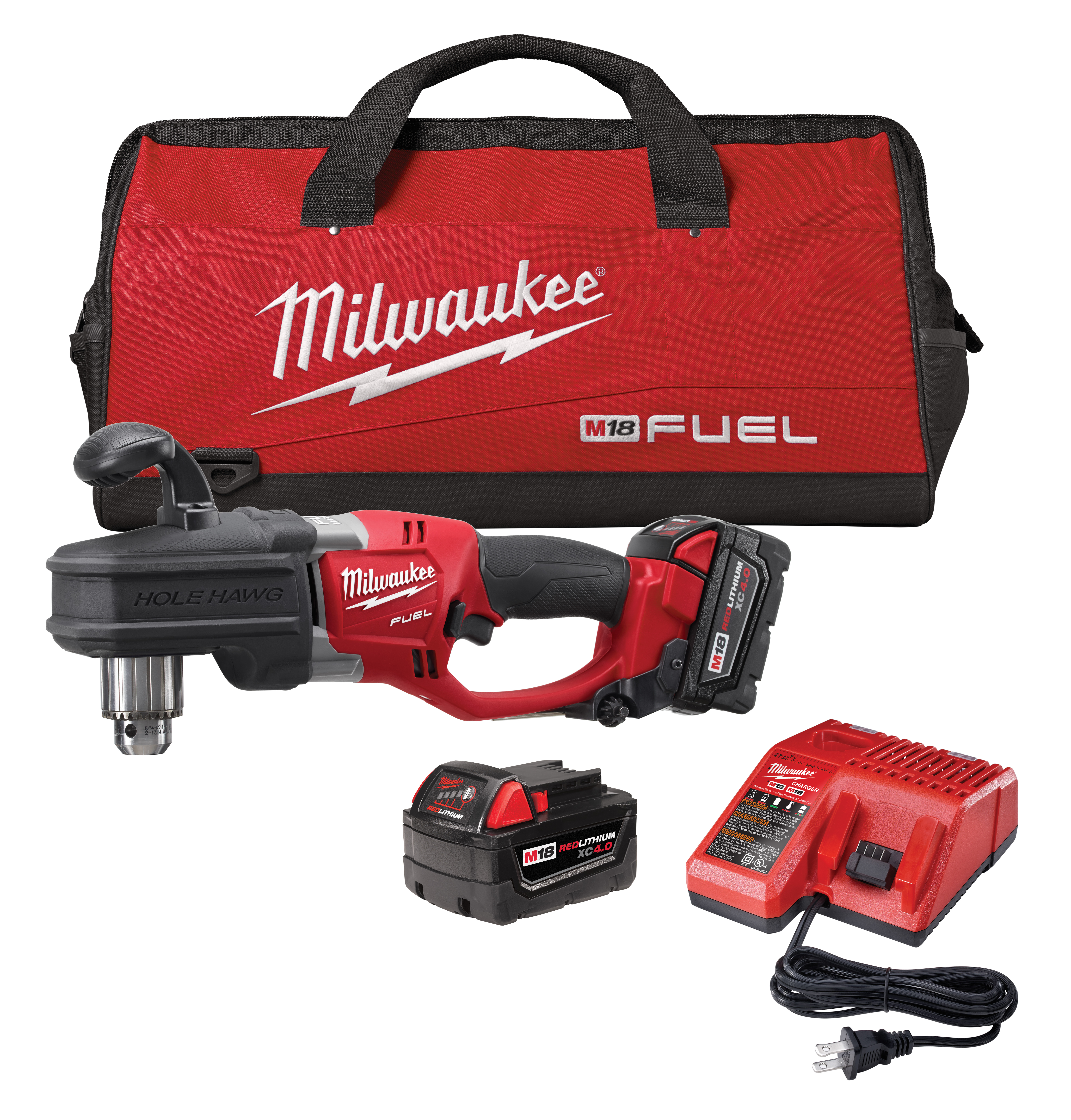 Milwaukee® M18™ FUEL™ 2707-22 HOLE HAWG® Cordless Right Angle Drill Kit, 1/2 in Keyed Chuck, 18 VDC, 650 ft-lb Torque, 0 to 1200 rpm No-Load, 17 in OAL, Lithium-Ion Battery