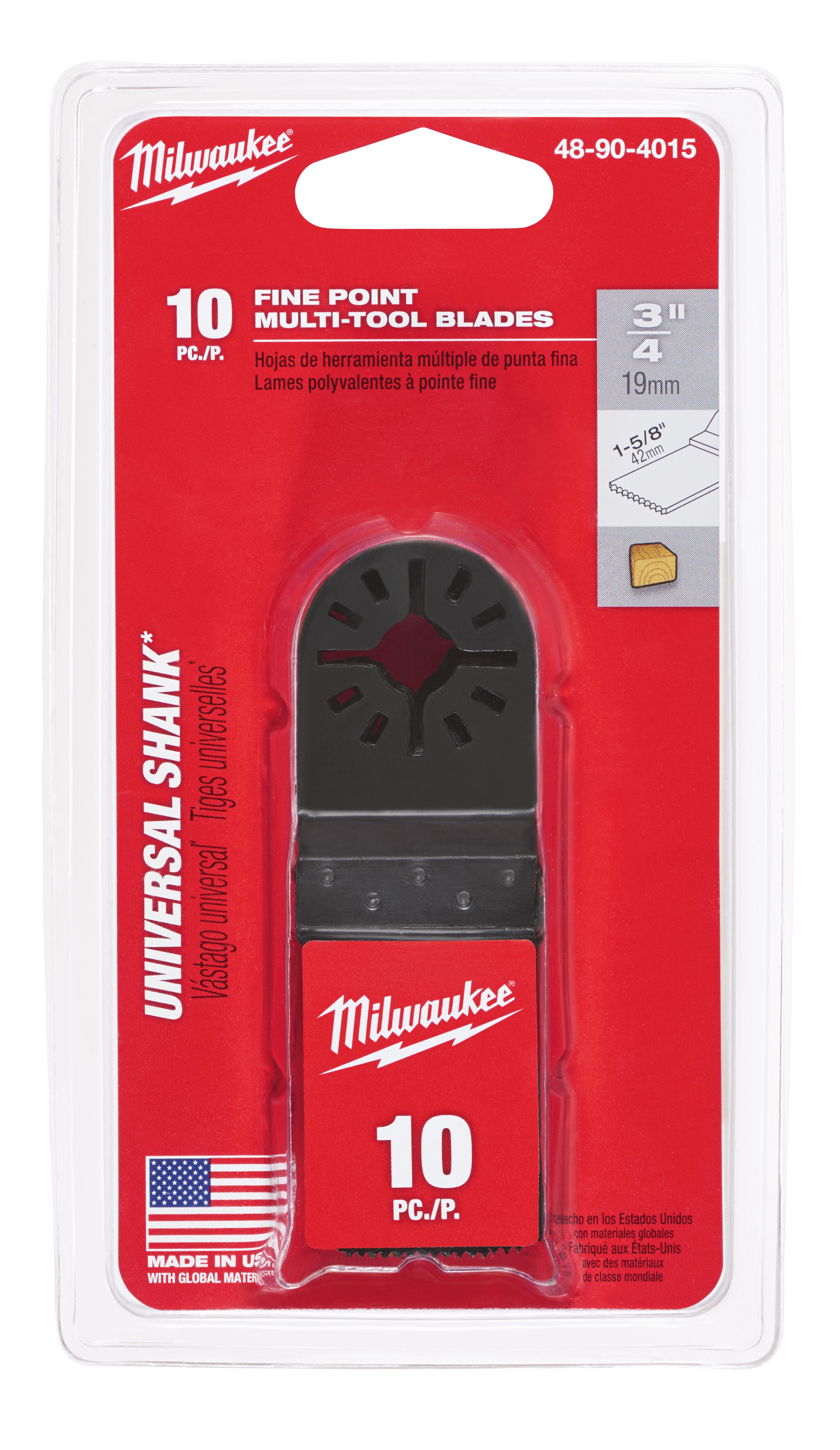 Milwaukee® 48-90-4015 Fine Point Multi-Tool Blade With Universal Shank, For Use With Milwaukee®, Bosch® (Non-Starlock™), SKIL®, Makita®, Craftsman®, Fein® (Non-Starlock™), Ridgid®, AEG®, Ozito® and Ryobi® Professional Grade Oscillating Multi-Tool, 3/4 in