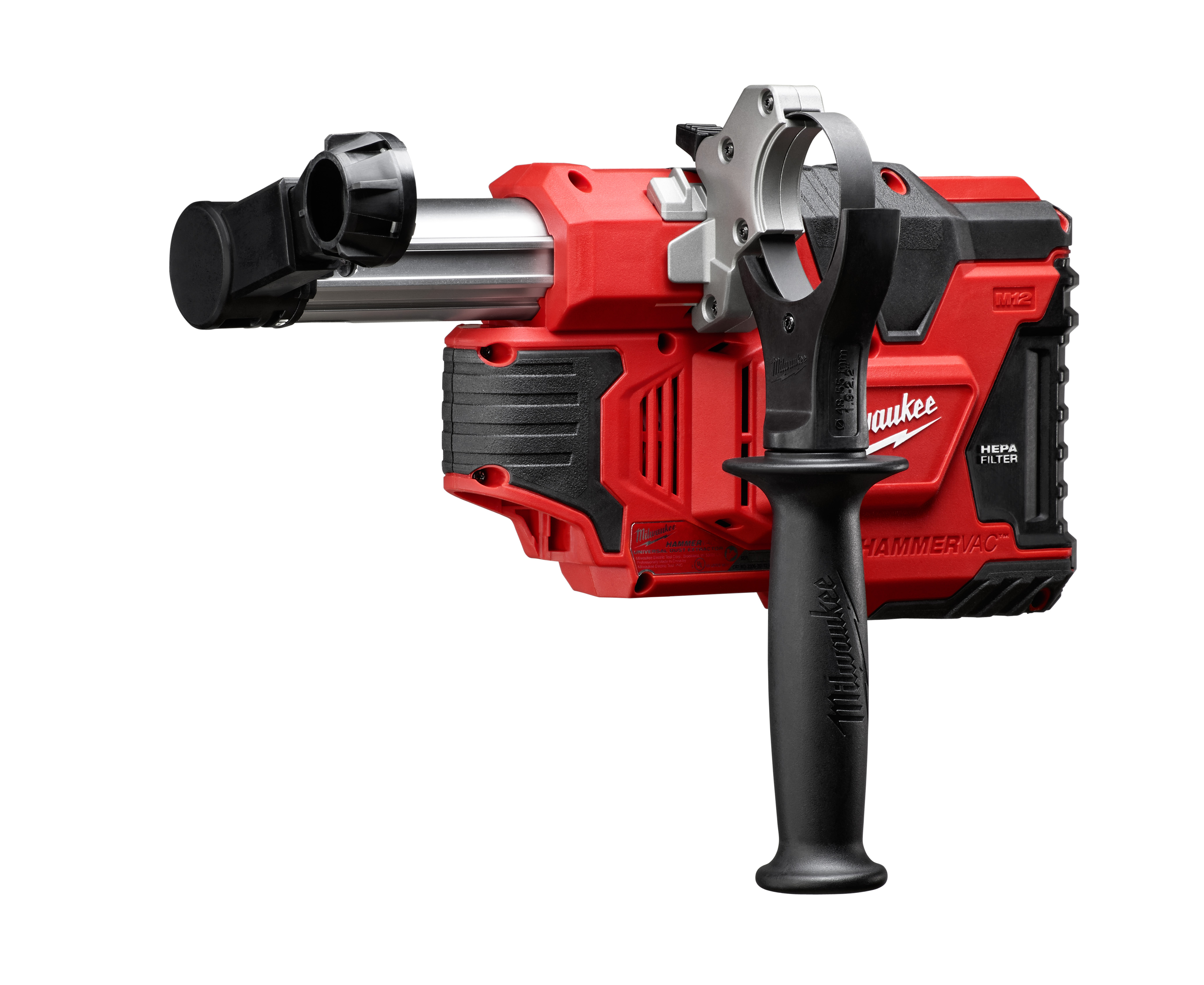 Milwaukee® M12™ 2306-20 HAMMERVAC™ Universal Dust Extractor, For Use With SDS-Max® Rotary Hammers, 12 V Voltage, Lithium-Ion Battery, Metal/Plastic/Rubber Overmold
