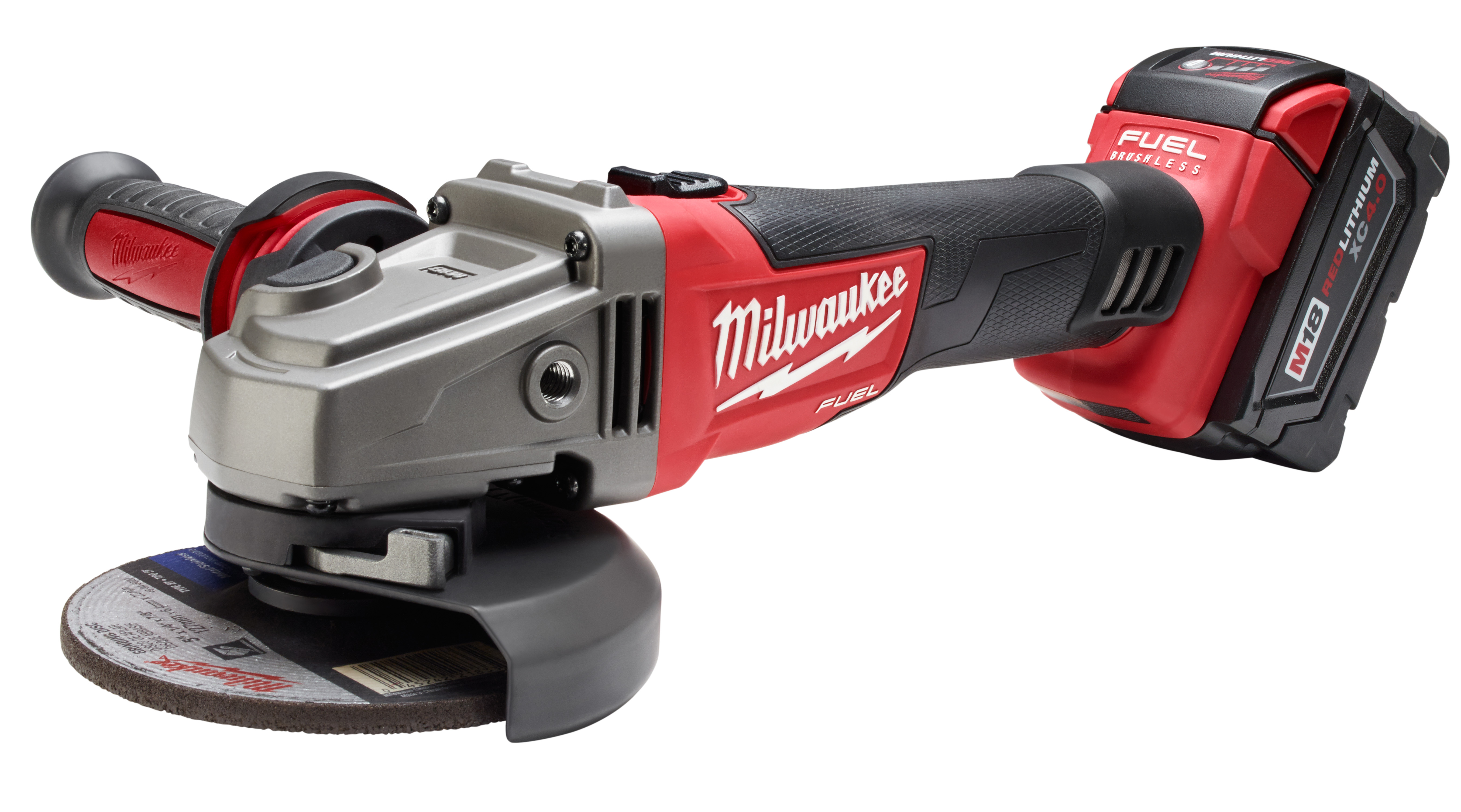 Milwaukee® M18™ FUEL™ 2781-21 Cordless Angle Grinder Kit, 5 in Dia Wheel, 5/8-11 Arbor/Shank, 18 VDC, Lithium-Ion Battery, 1 Battery, Slide with Lock-On Switch