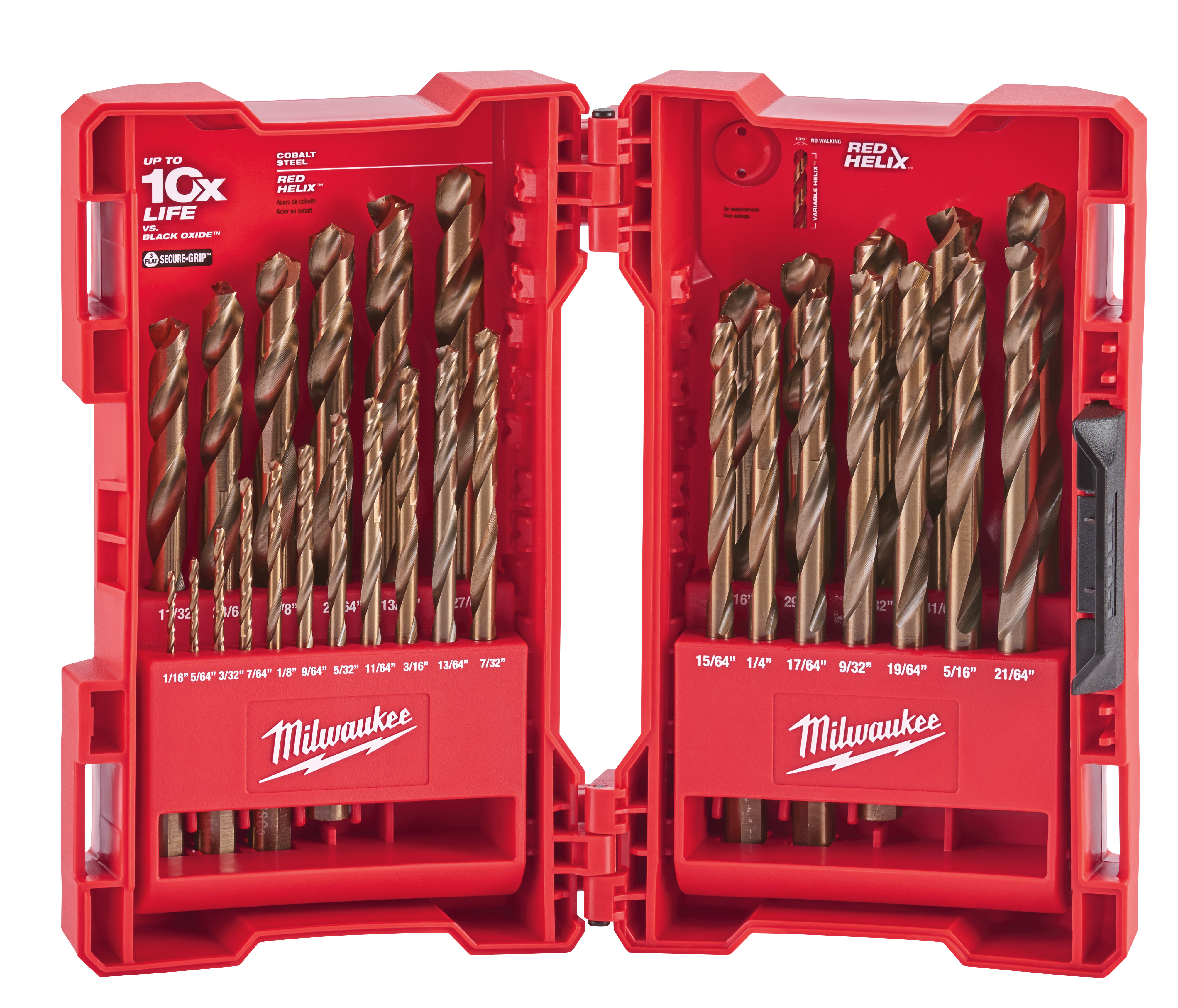 Milwaukee® RED HELIX® 48-89-2332 Drill Bit Set, 1/16 in Min Drill Bit, 1/2 in Max Drill Bit, 135 deg Drill Point Angle, 29 Pieces, Cobalt