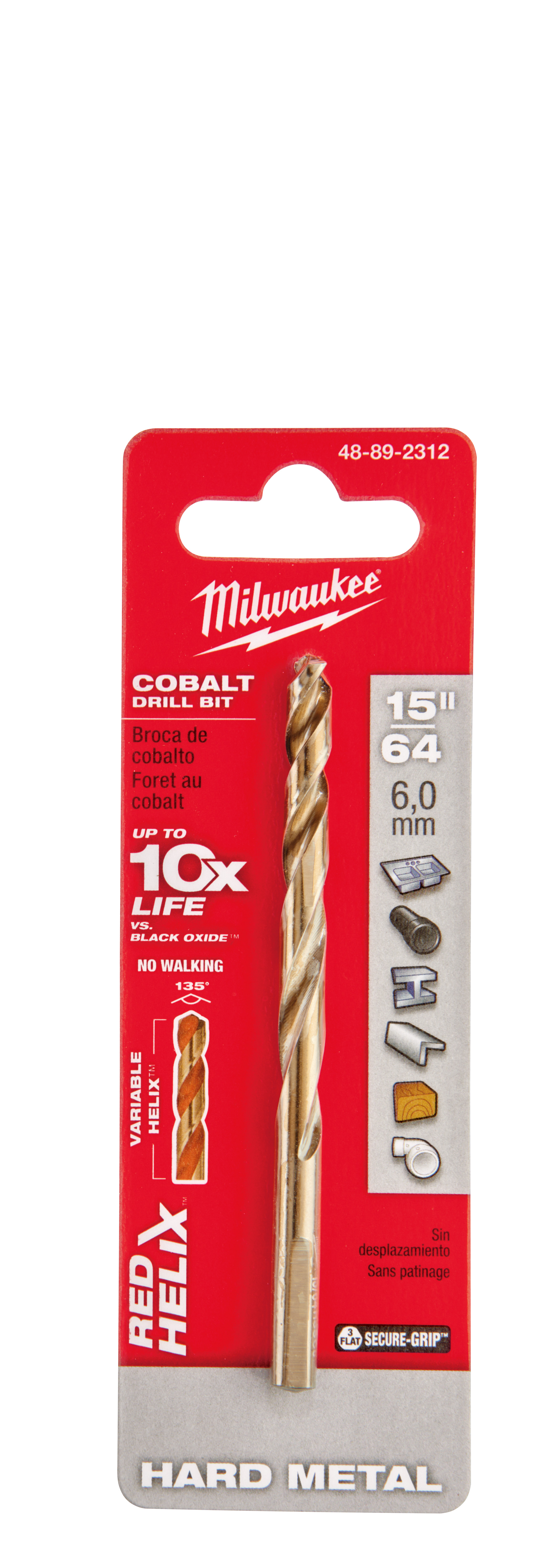 Milwaukee® 48-89-2312 RED HELIX™ Jobber Length Twist Drill Bit, 15/64 in Drill - Fraction, 0.2344 in Drill - Decimal Inch, 135 deg Point, High Speed Cobalt, Uncoated
