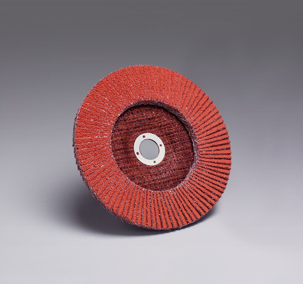 3M™ 051111-49615 747D Close Quick-Change Close Coated Flap Disc, 4-1/2 in Dia Disc, 7/8 in Center Hole, 60 Grit, Medium Grade, Ceramic Abrasive, Type 27 Disc