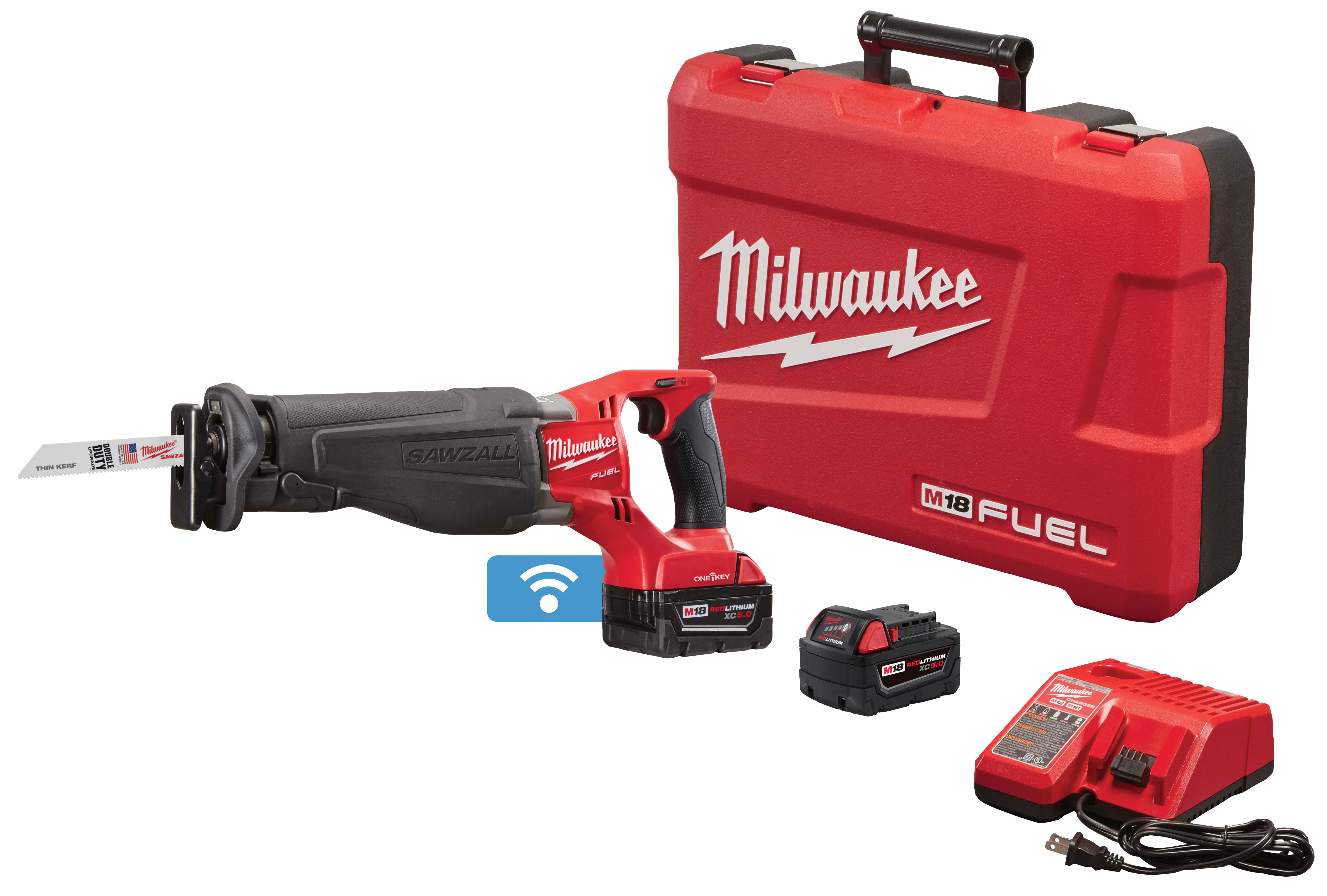 Milwaukee® M18™ FUEL™ SAWZALL™ 2721-22 Adjustable Shoe Anti-Vibration Cordless Reciprocating Saw Kit With One-Key™, 1-1/8 in L Stroke, 0 to 3000 spm, Straight Cut, 18 VDC, 17-3/4 in OAL