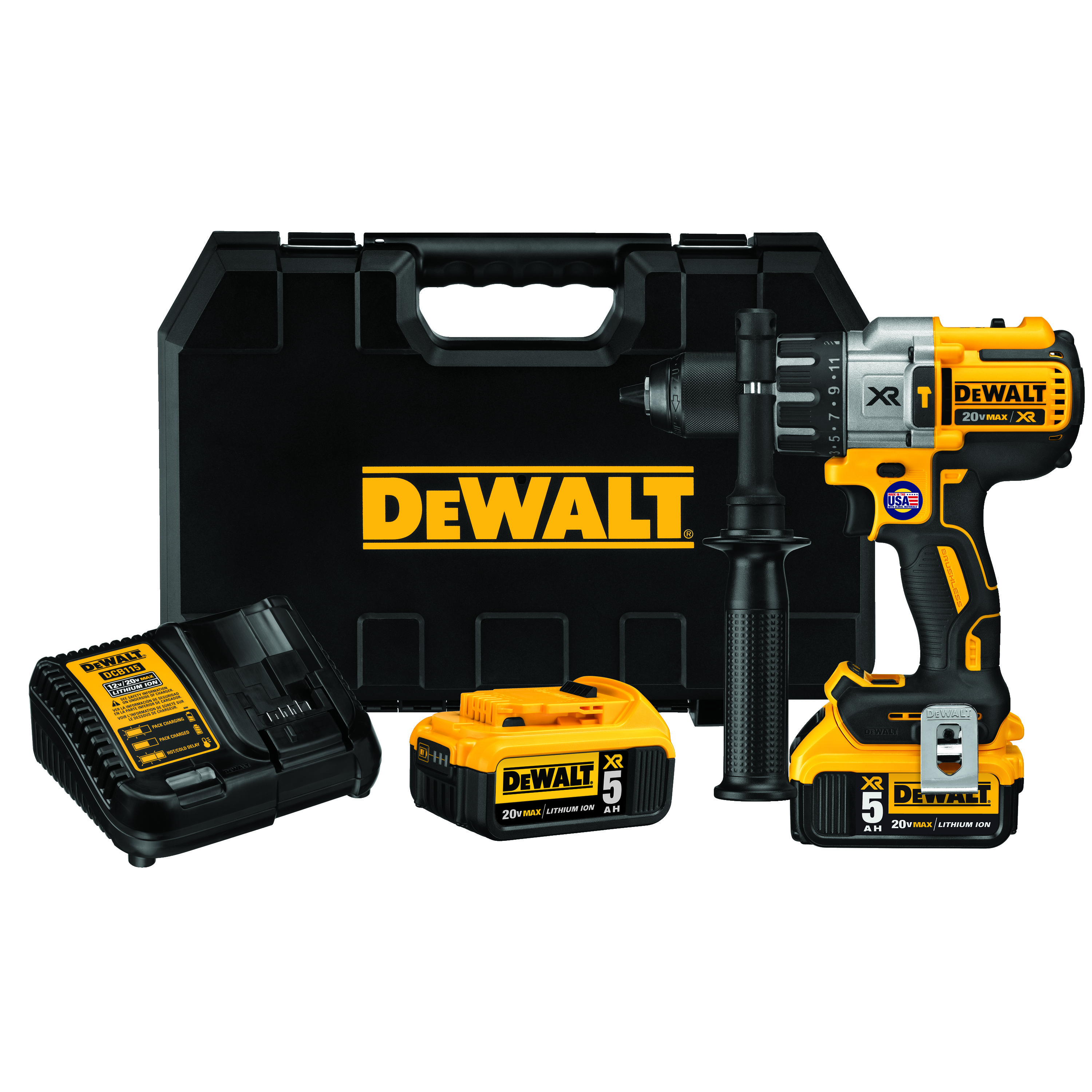 DeWALT® 20V MAX* DCD996P2 XR™ Brushless Cordless Hammer Drill Kit, 1/2 in Metal Ratcheting Chuck, 20 VDC, 0 to 2250 rpm No-Load, Lithium-Ion Battery
