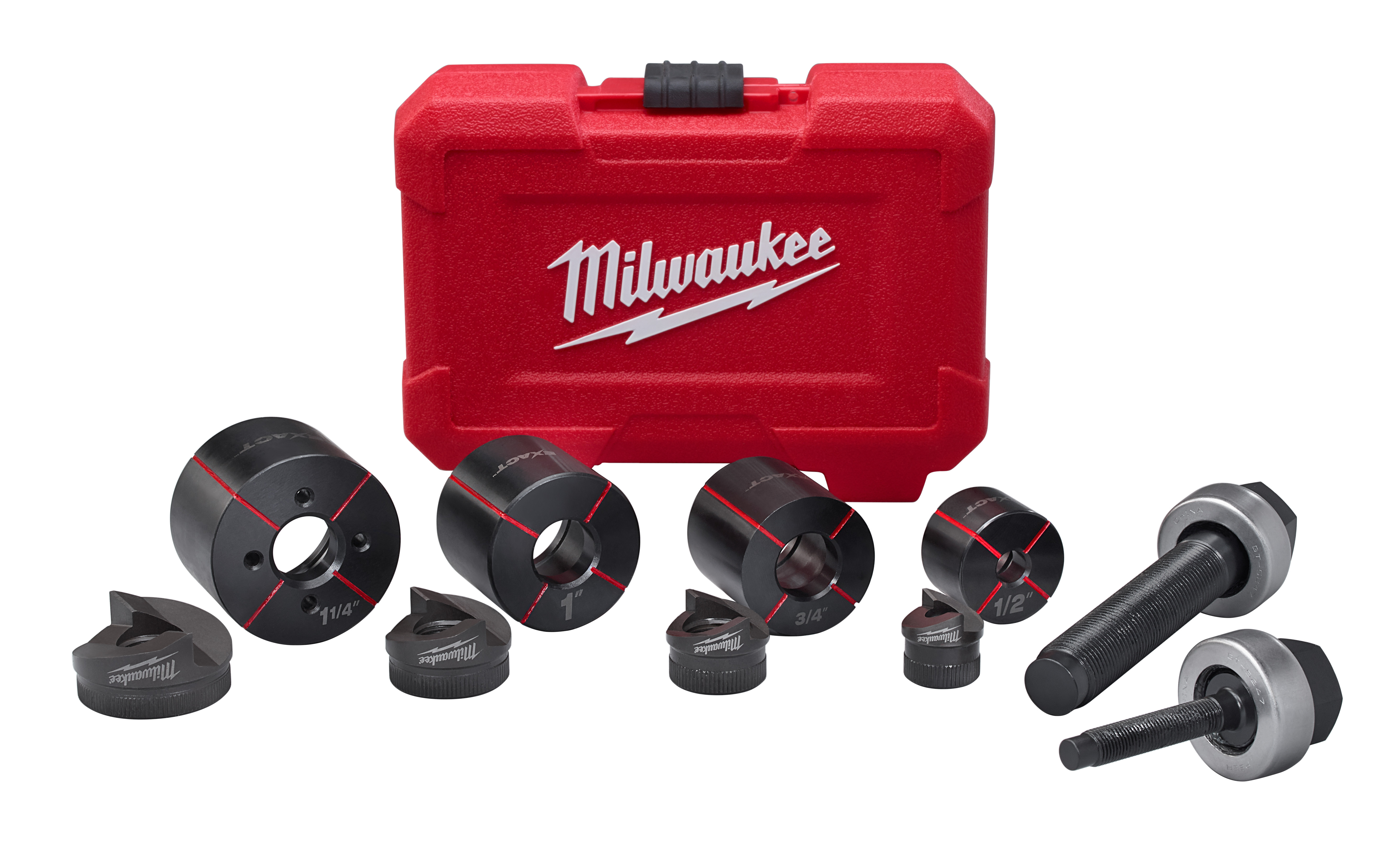 Milwaukee® M18™ Exact™ 49-16-2692 Knockout Punch Set, 10 ga Mild Steel Capacity, 10 Pieces, 1/2 to 1-1/4 in Conduit/Pipe, Mild Steel