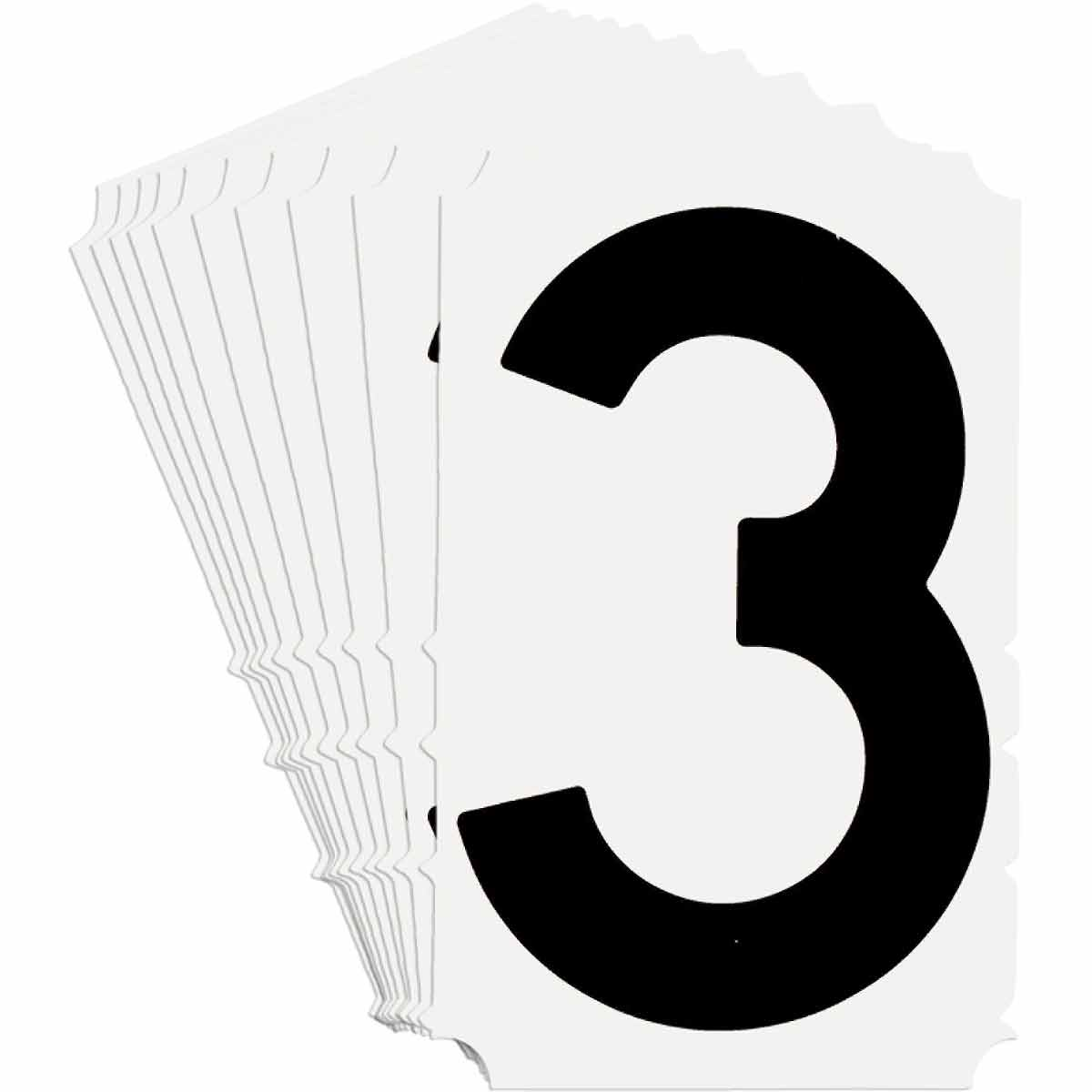 Brady® Quik-Align® 5140-3 Non-Reflective Number Label, 4 in H Black 3 Character, White Background, B-933 Vinyl