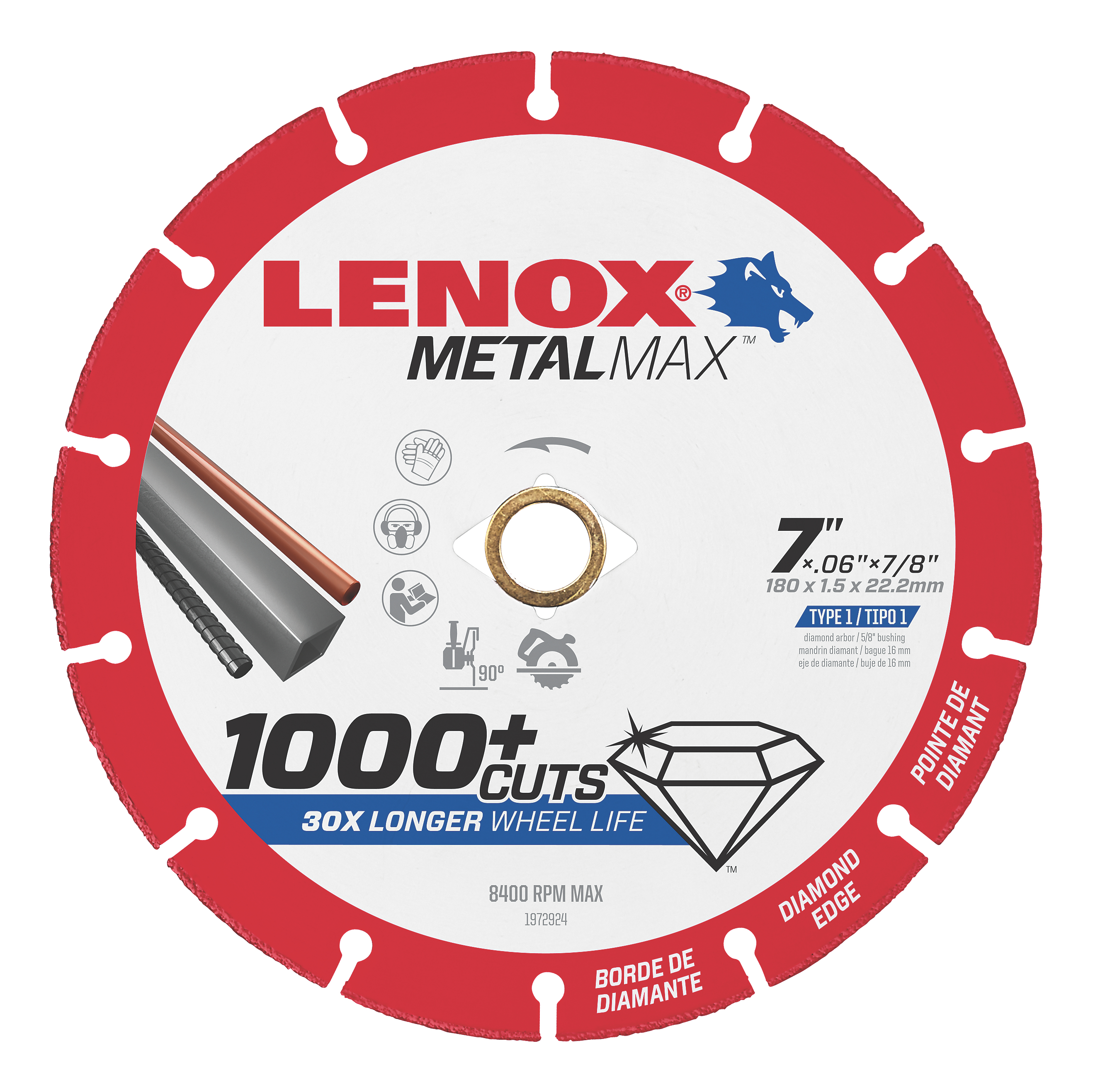LENOX® TOOLS METALMAX™ 1972924 METALMAX™ Type 1 Cut-Off Wheel, 7 in Dia x 0.06 in THK, 7/8 in Center Hole, 40/50 Grit, Diamond Abrasive