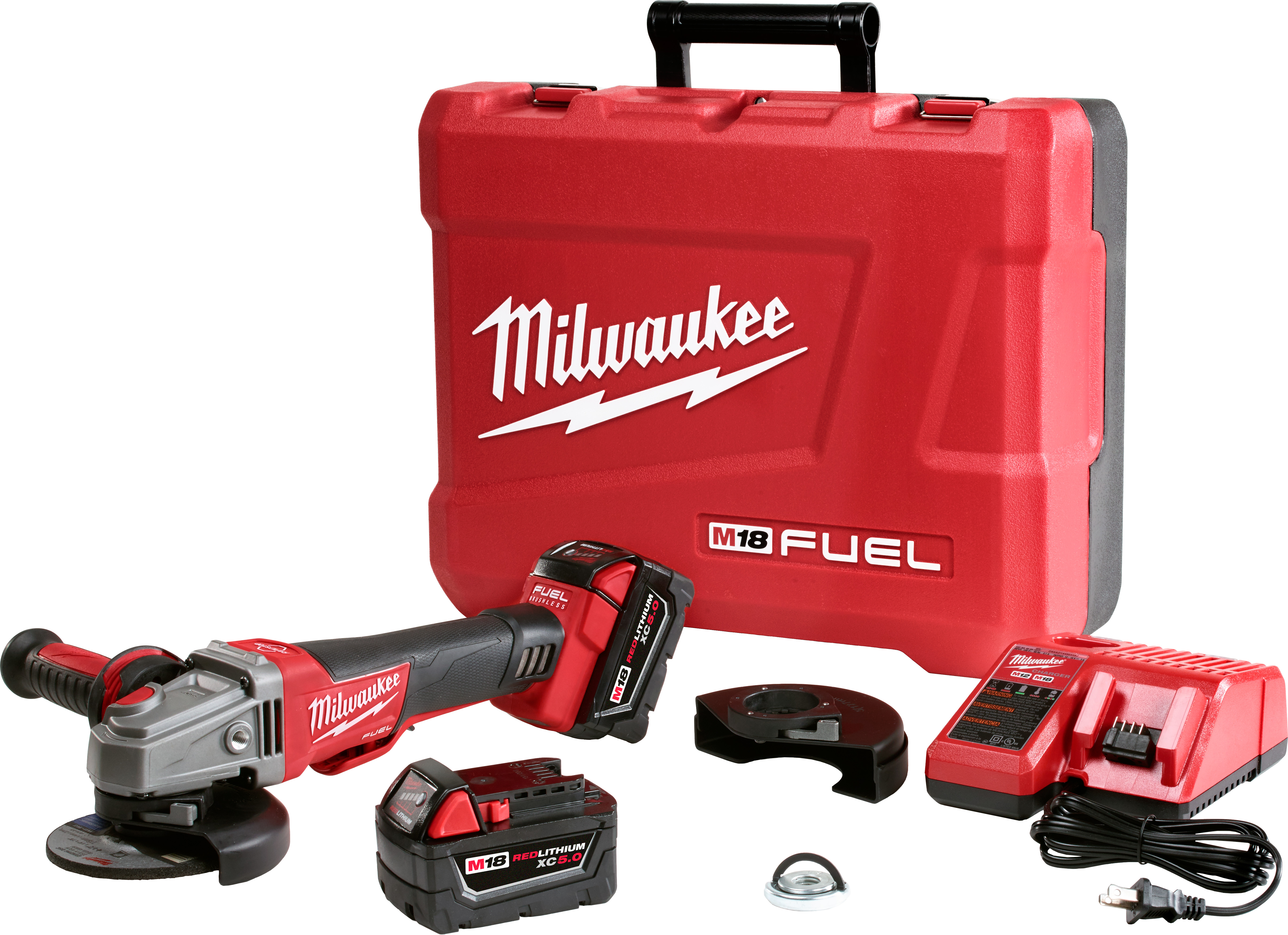 Milwaukee® M18™ FUEL™ 2783-22 Cordless Angle Braking Grinder Kit, 5 in Dia Wheel, 5/8-11 Arbor/Shank, 18 VDC, REDLITHIUM™ Battery, 2 Batteries, Paddle No-Lock Switch