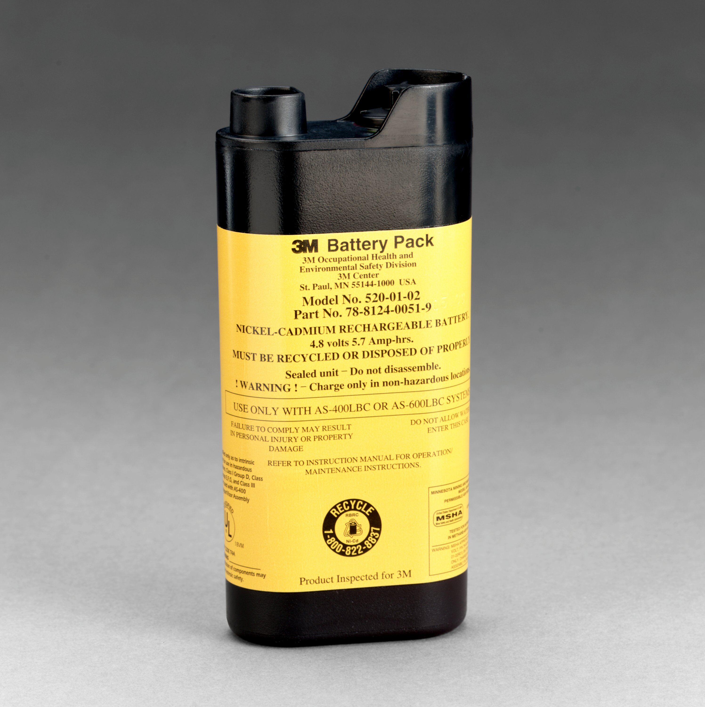 3M™ 520-01-02R01 Battery Pack, For Use With AS-400LBC and AS-600LBC PAPR Systems