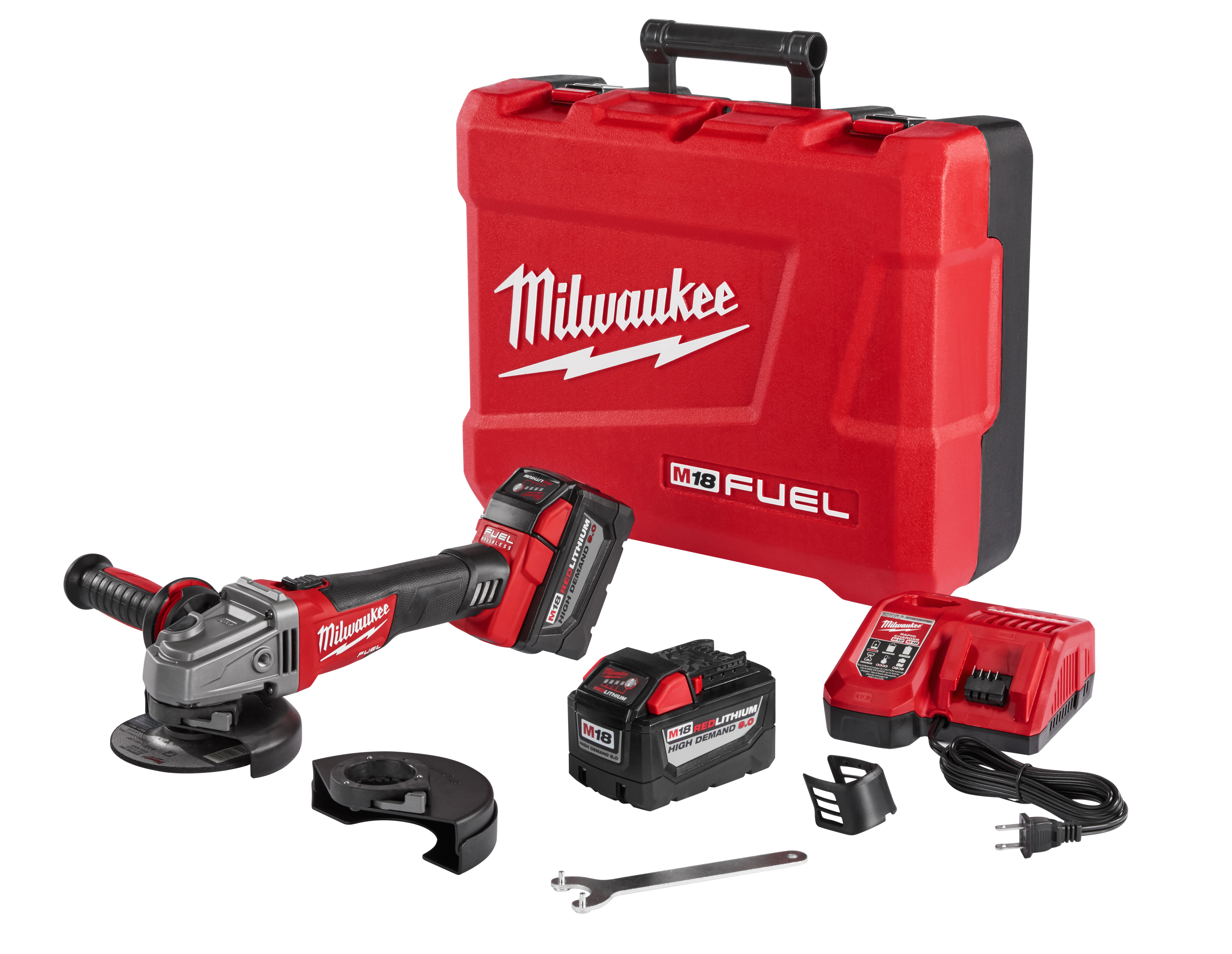Milwaukee® M18™ FUEL™ 2781-22HD Cordless Angle Grinder Kit, 5 in Dia Wheel, 5/8-11 Arbor/Shank, 18 VDC, Lithium-Ion Battery, 2 Batteries, Slide with Lock-On Switch