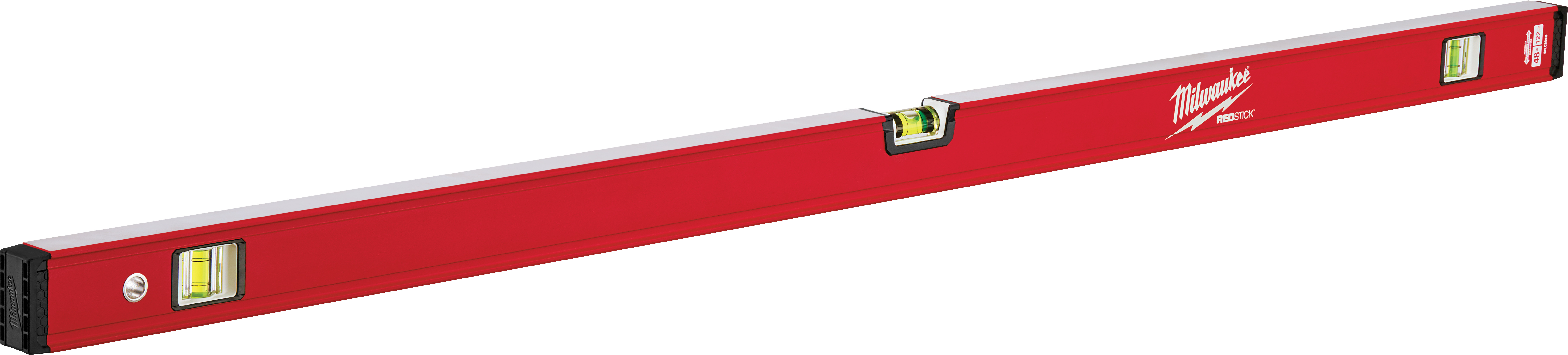 Milwaukee® REDSTICK™ MLCM48 Compact Box Level, 48 in L, 3 Vials, Aluminum, (1) Level, (2) Plumb Vial Position, 0.0005 in/in Accuracy