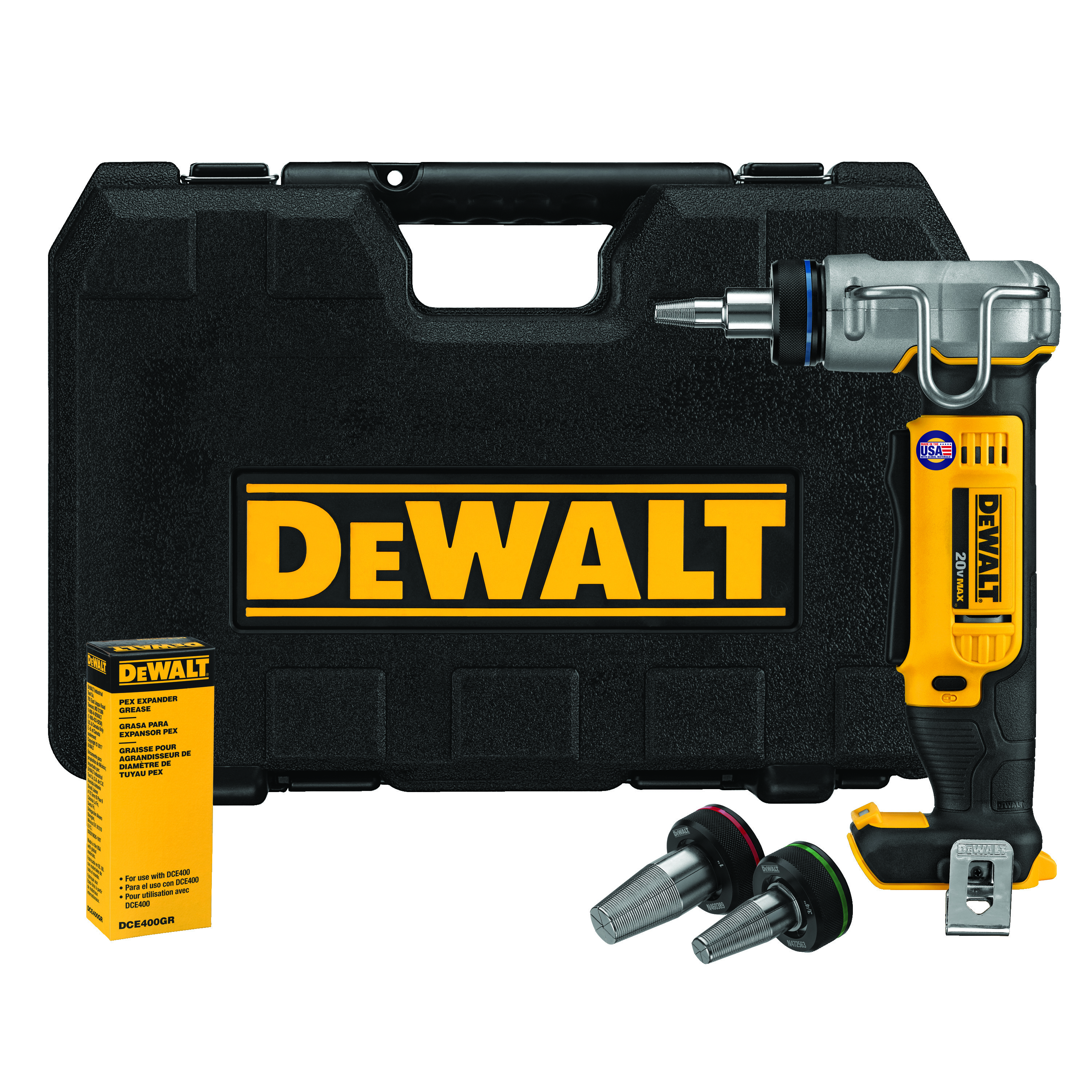 DeWALT® DCE400B Type A PEX Expander Kit, 3/8 to 1 in Tubing, 20 VDC, Lithium-Ion Battery