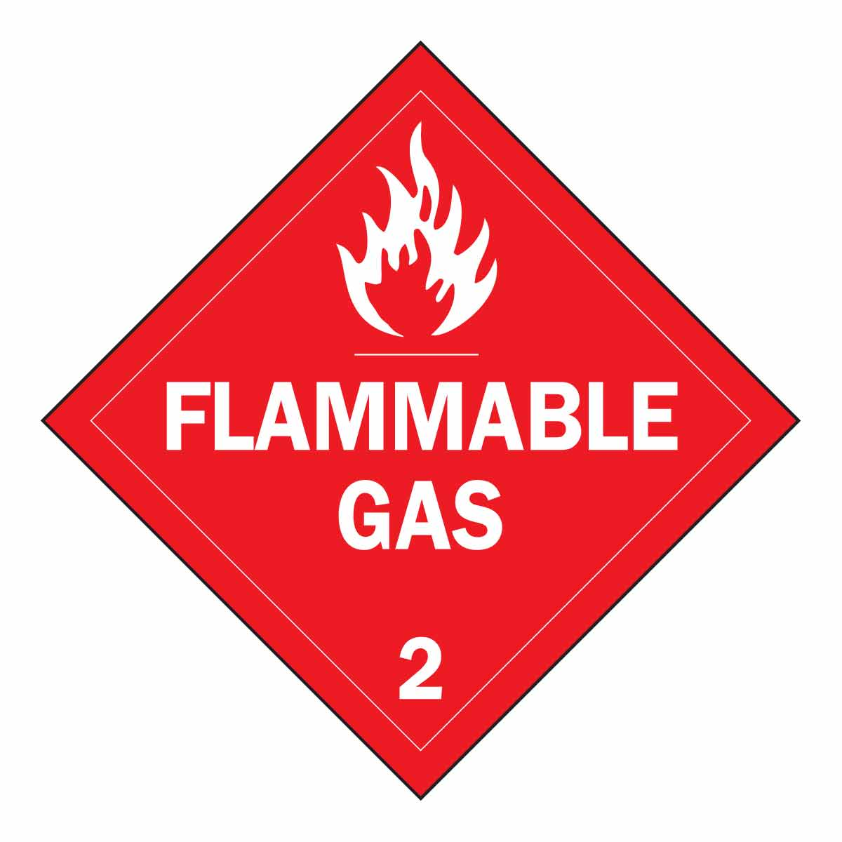 Brady® 63442 Diamond Vehicle Placard Sign, FLAMMABLE GAS 2 Legend, Red on White, 10-3/4 in H, B-101 Polycoated Tagstock