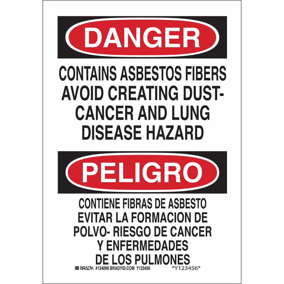 Brady® 38767 Rectangular Safety Sign, Text, B-401 Polystyrene, Corner Holes Mount, 14 in H x 10 in W, English/Spanish