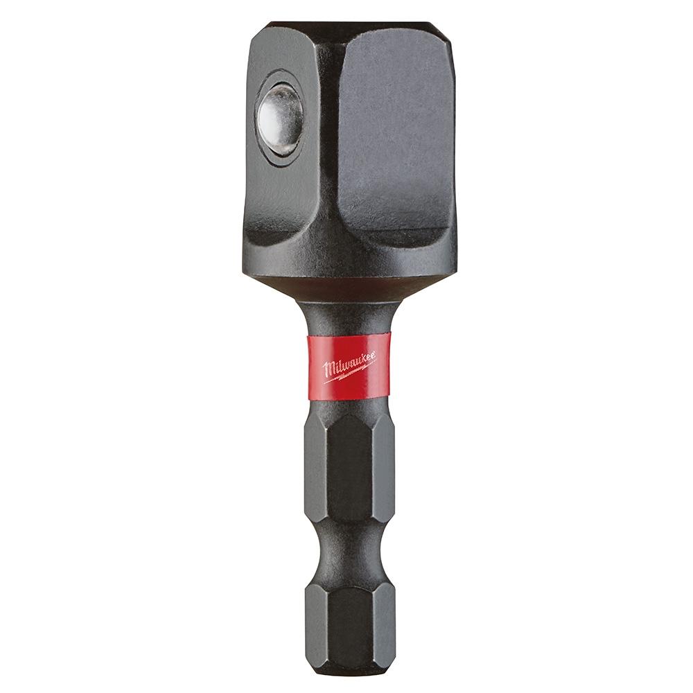 Milwaukee® SHOCKWAVE™ 48-32-5732 Impact Duty Socket Adapter, Hex/Square Drive, 1/4 in Male Drive, 1/2 in Female Drive, Female x Male Adapter, Proprietary Steel