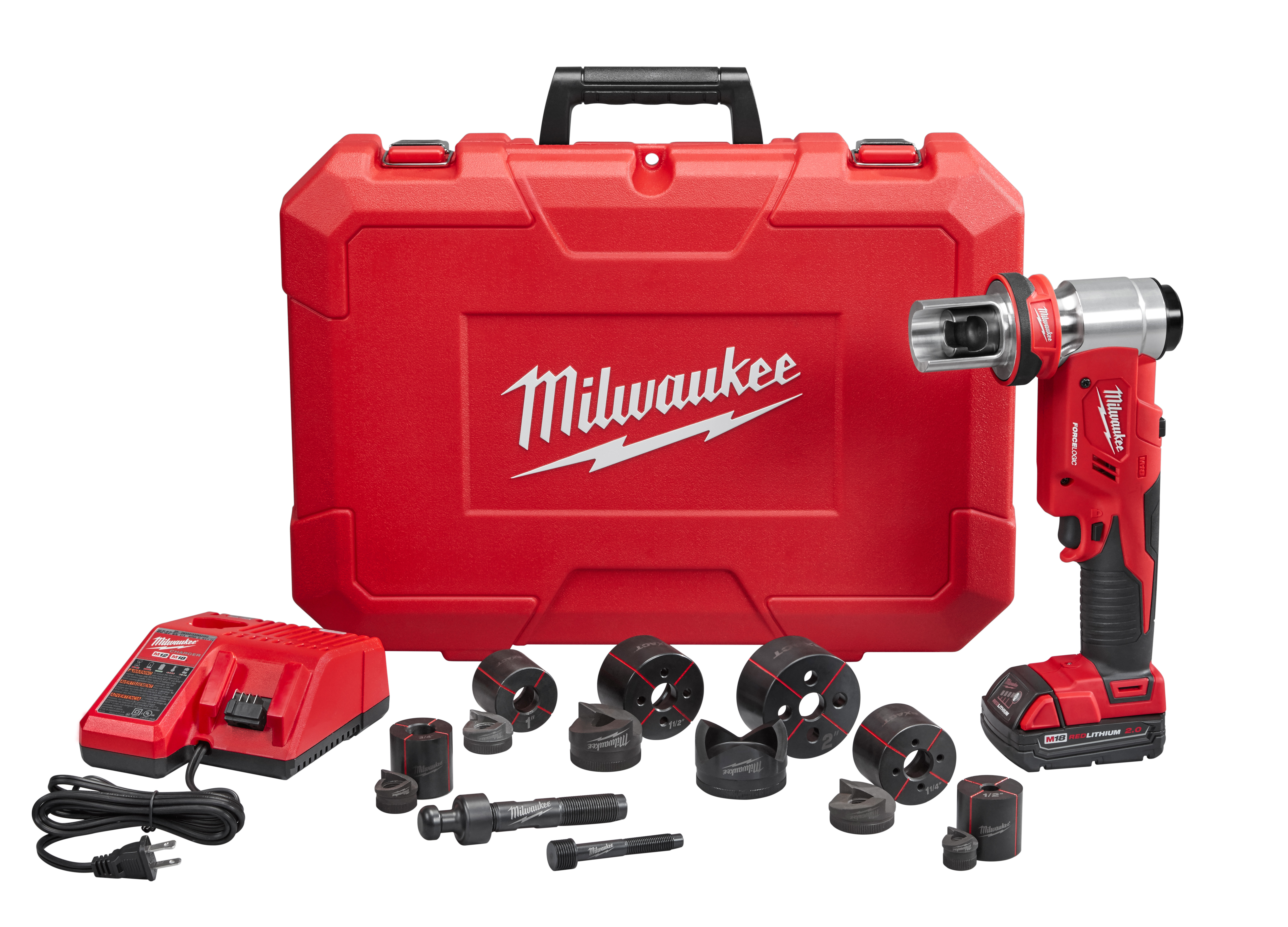 Milwaukee® M18™ 2677-21 FORCE LOGIC™ Knockout Tool Kit, 1/2 to 4 in Mild Steel Max Cutting, 11.7 in OAL