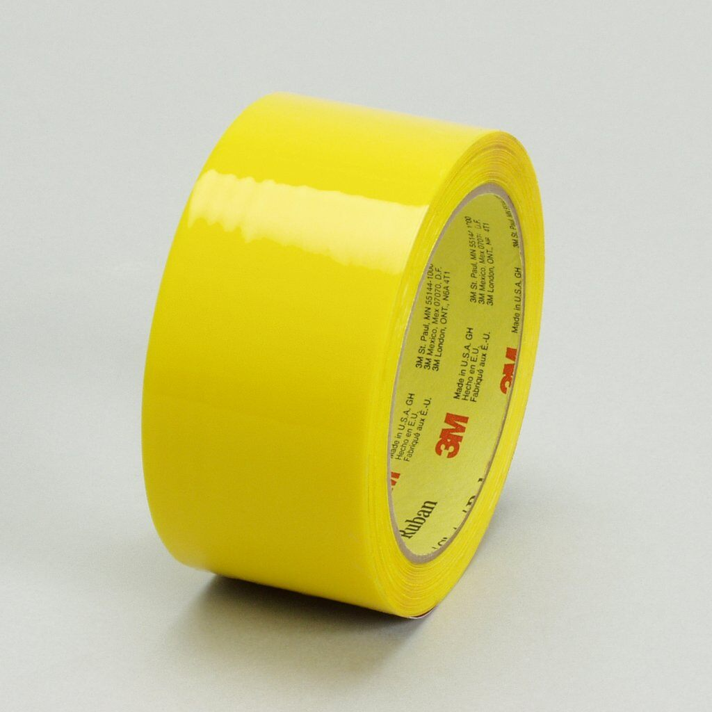 3M™ 371-Yellow-48mmx100m Box Sealing Tape, 100 m L x 48 mm W, 1.8 mil THK, Hot Melt Synthetic Rubber Resin Adhesive, Polypropylene Film Backing, Yellow