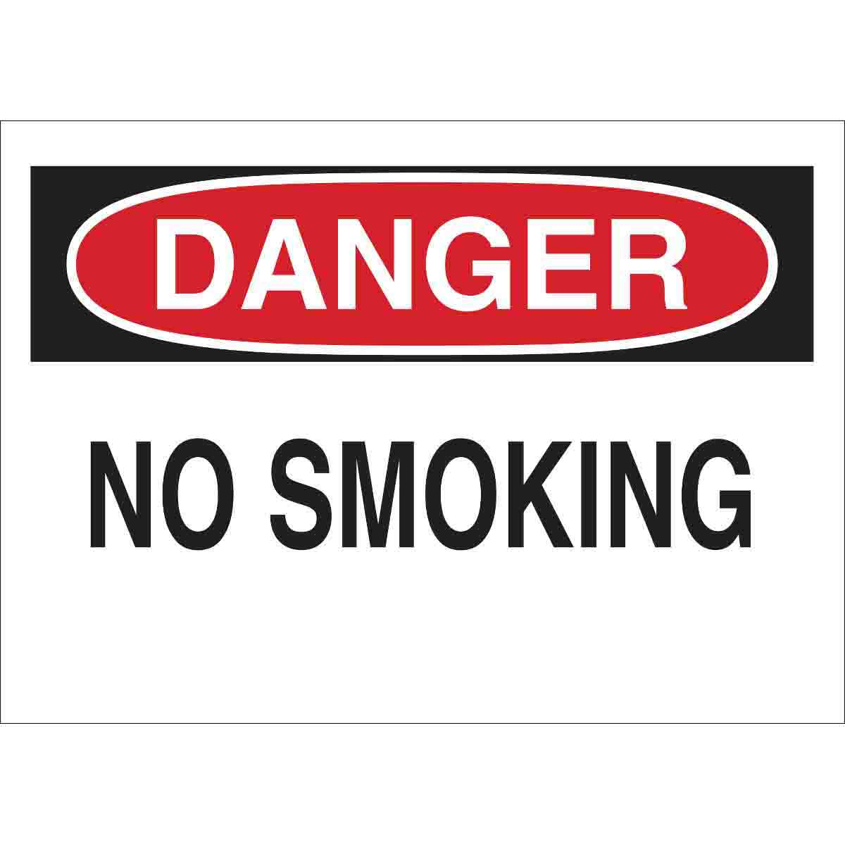 Brady® 25077 Rectangle No Smoking Sign, DANGER, 10 in H x 14 in W, Black/Red on white, B-401 Plastic, Surface Mounting