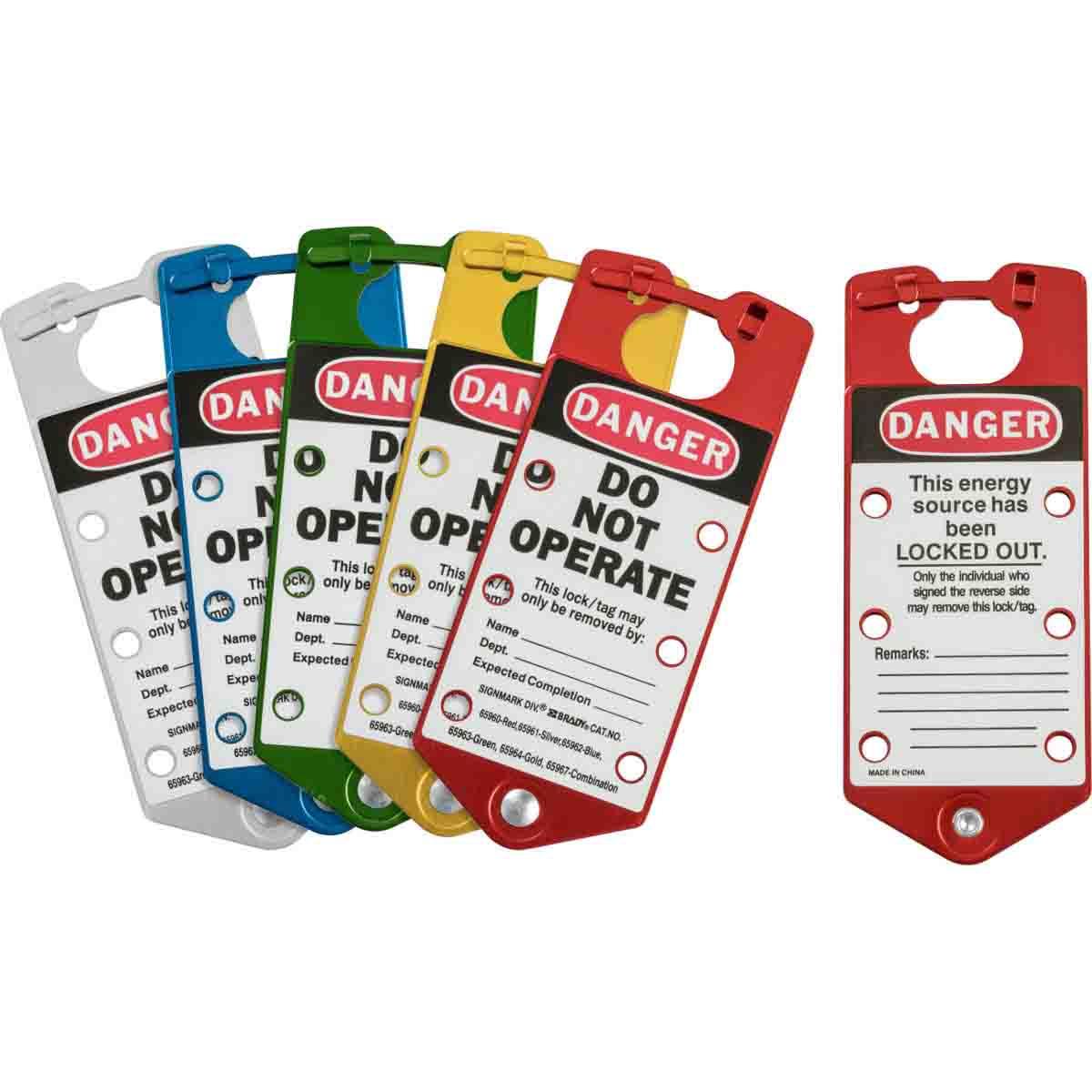 Brady® 65967 Labeled Snap-In Lockout Hasp With Interlocking Tabs, 6 Padlocks, 5/16 in Max Dia Padlock Shackle, Aluminum