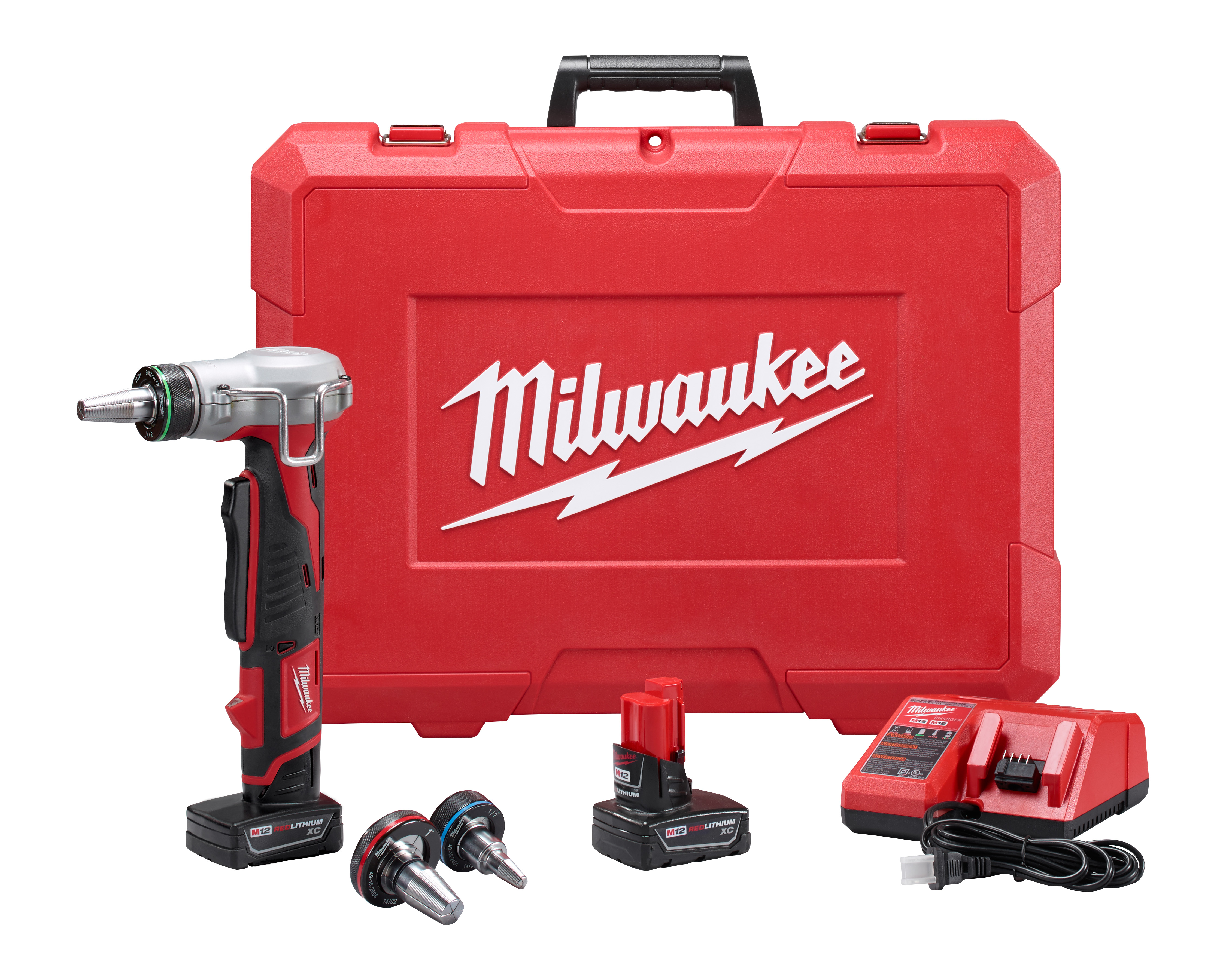 Milwaukee® ProPEX® M12™ 2432-22XC Compact Cordless Expansion Tool Kit, 3/8 to 1 in Tubing, 12 VDC, Lithium-Ion Battery