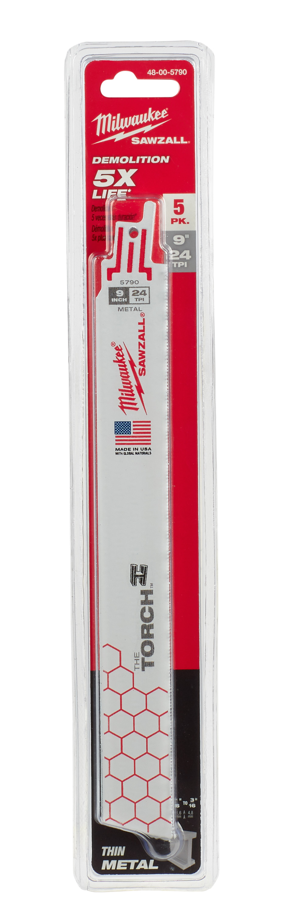 Milwaukee® SAWZALL® The Torch™ 48-00-5790 Double Duty Straight Back Reciprocating Saw Blade, 9 in L x 1 in W, 24 TPI, Bi-Metal Body, Universal/Toothed Edge Tang