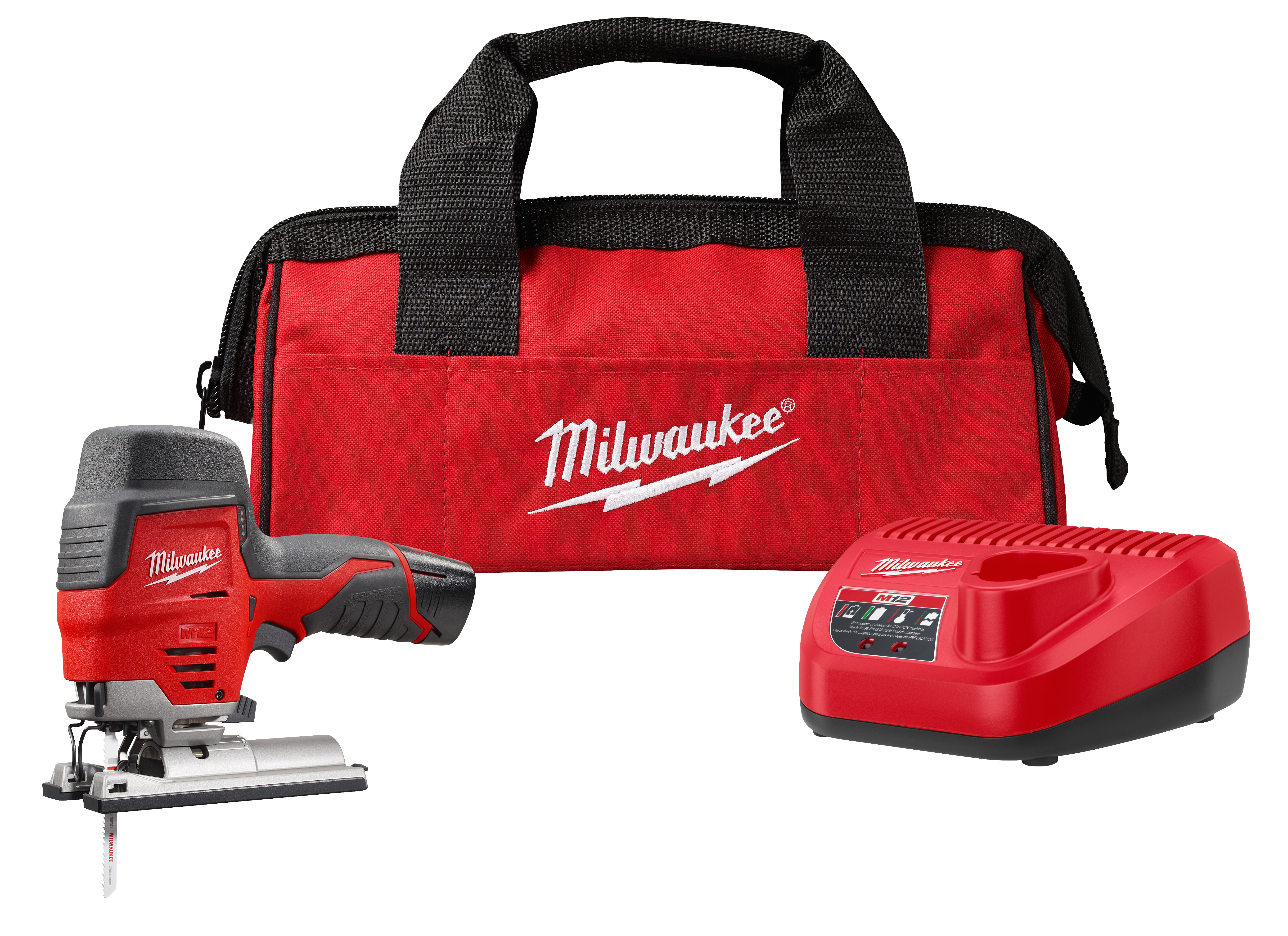 Milwaukee® M12™ 2445-21 Compact High Performance Lightweight Cordless Jig Saw Kit, 12 VDC, For Blade Shank: T-Shank, 8 in OAL, Lithium-Ion Battery
