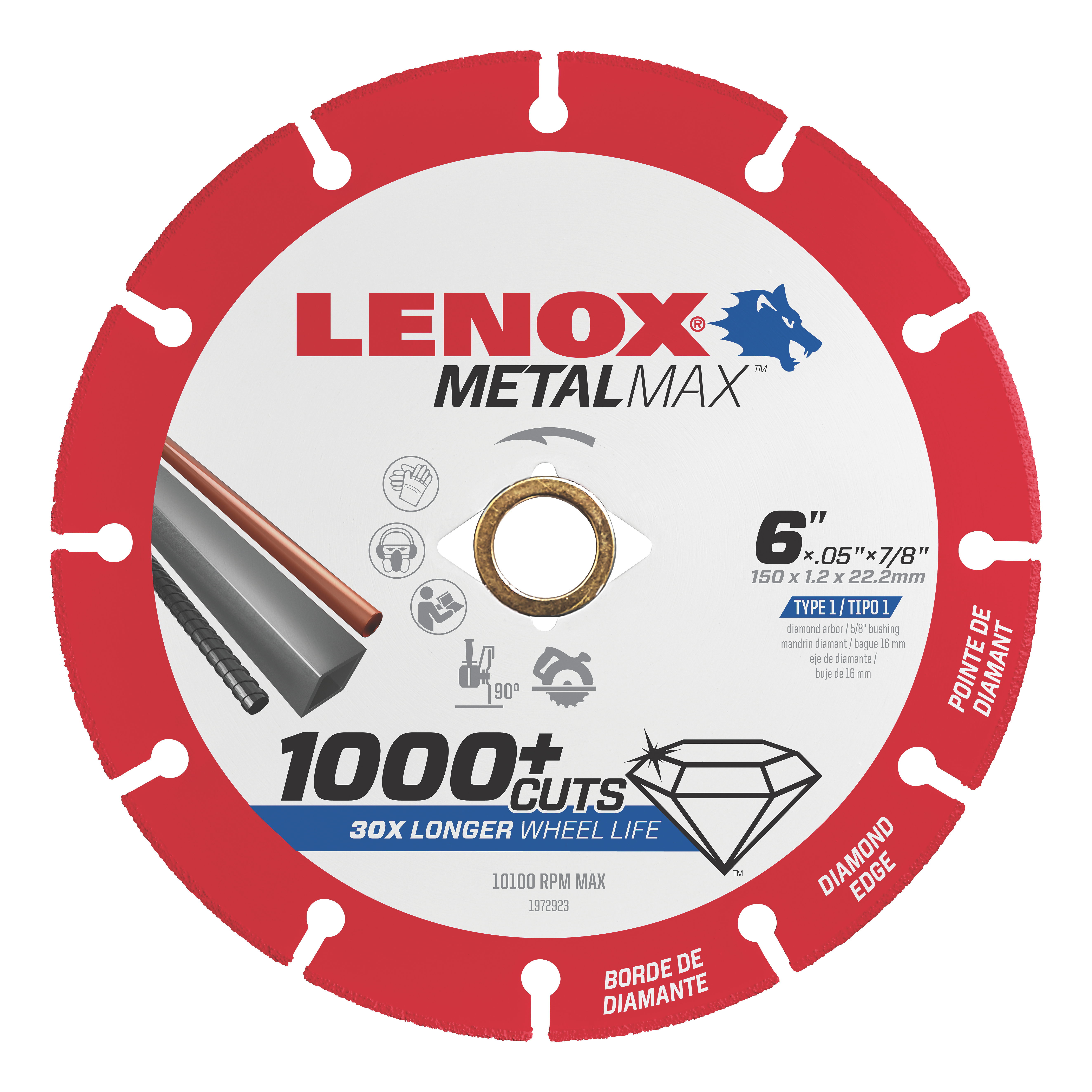 LENOX® TOOLS METALMAX™ 1972923 METALMAX™ Type 1 Cut-Off Wheel, 6 in Dia x 0.05 in THK, 7/8 in Center Hole, 40/50 Grit, Diamond Abrasive