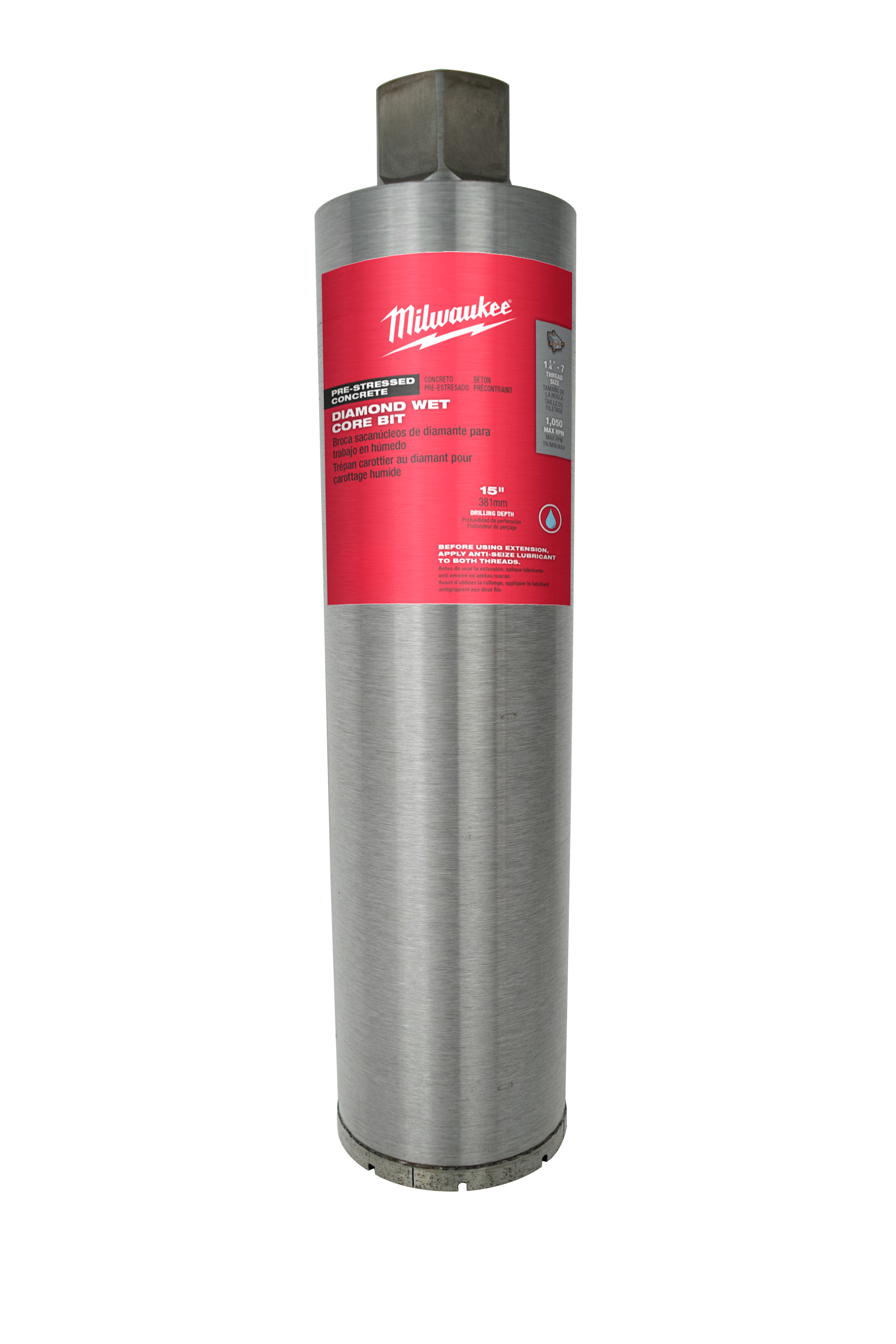 Milwaukee® 48-17-1045 Pre-Stressed Wet Core Bit, 4-1/2 in Drill - Fraction, 4.5 in Drill - Decimal Inch