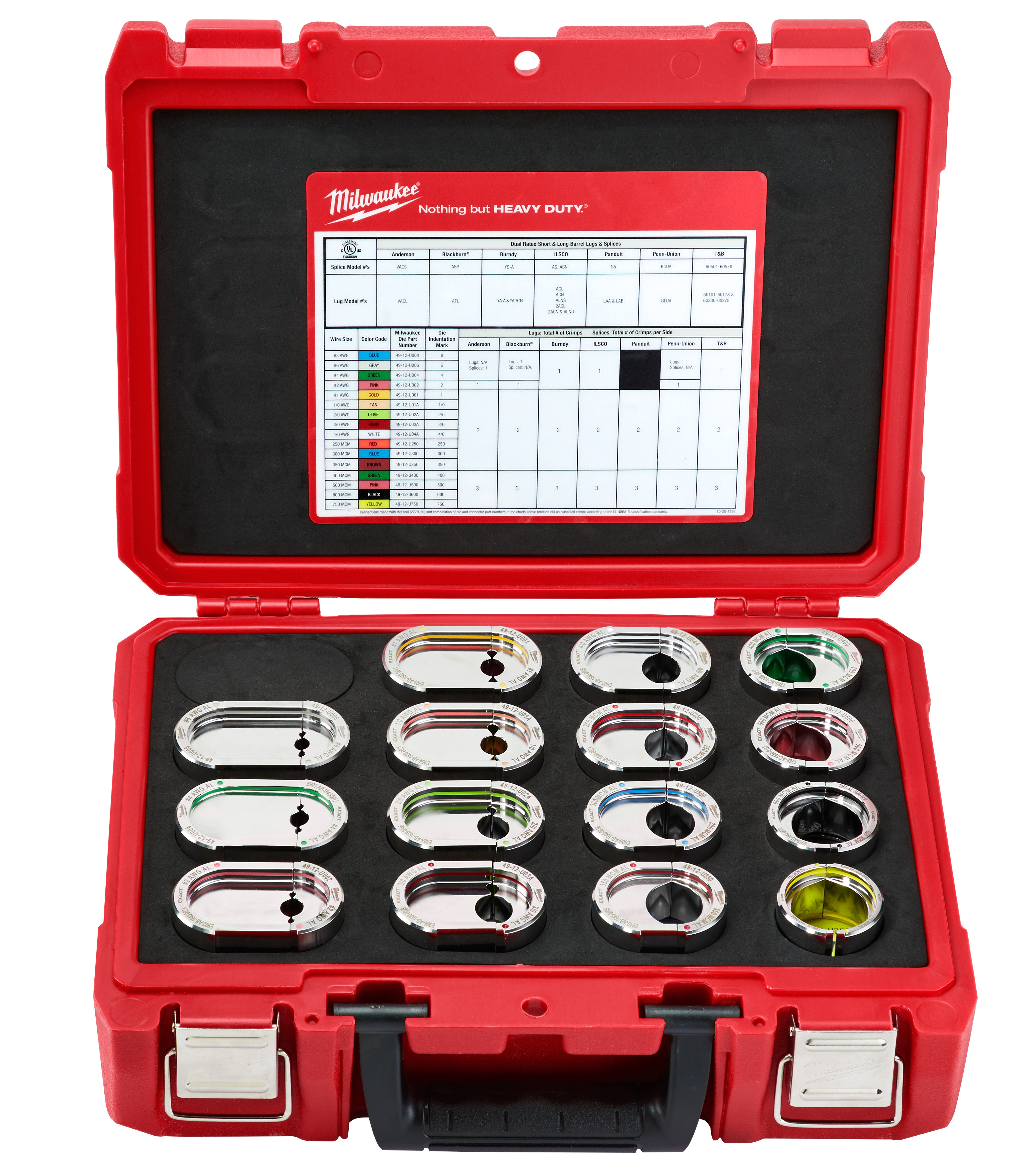 Milwaukee® EXACT™ 49-12-KITA U-Style Crimping Tool Die Kit, 16 Pieces, Stainless Steel