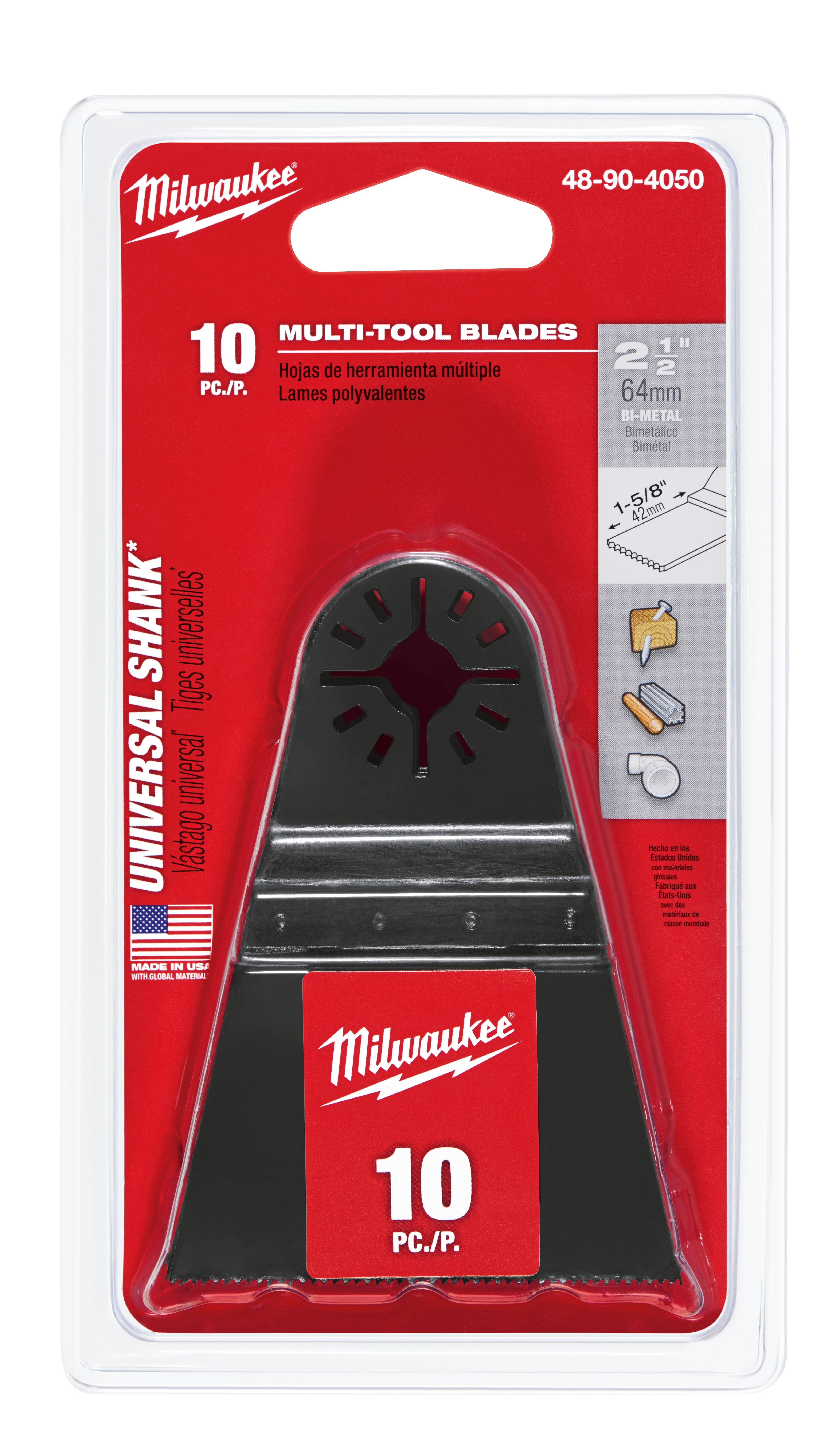 Milwaukee® 48-90-4050 Multi-Tool Blade With Universal Shank, For Use With Milwaukee®, Bosch® (Non-Starlock™), SKIL®, Makita®, Craftsman®, Fein® (Non-Starlock™), Ridgid®, AEG®, Ozito® and Ryobi® Professional Grade Oscillating Multi-Tool, 2-1/2 in, Bi-Metal