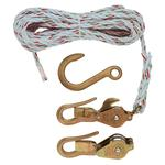 Klein® H1802-30 Block and Tackle With Guarded Hook, 750 lb Lifting, 3/8 in Dia x 25 ft L