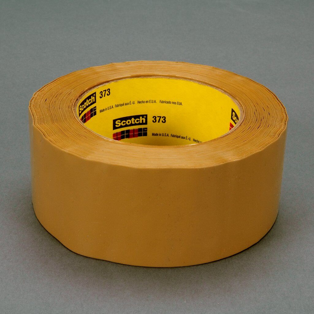 3M™ 373-Tan-48mmx50m High Performance Box Sealing Tape, 50 m L x 48 mm W, 2.5 mil THK, Hot Melt Synthetic Rubber Resin Adhesive, Polypropylene Film Backing, Tan