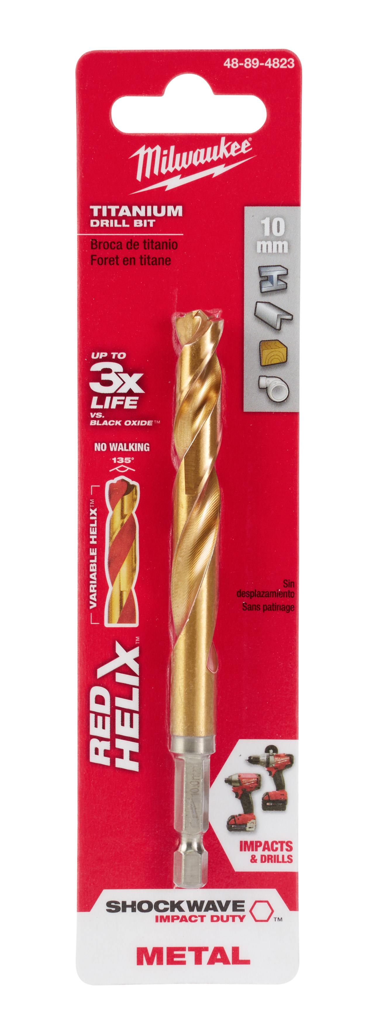 Milwaukee® SHOCKWAVE™ RED HELIX® Impact Duty® 48-89-4823 Hex Shank Drill Bit, 10 mm Drill - Metric, 0.3937 in Drill - Decimal Inch, (2 Flutes