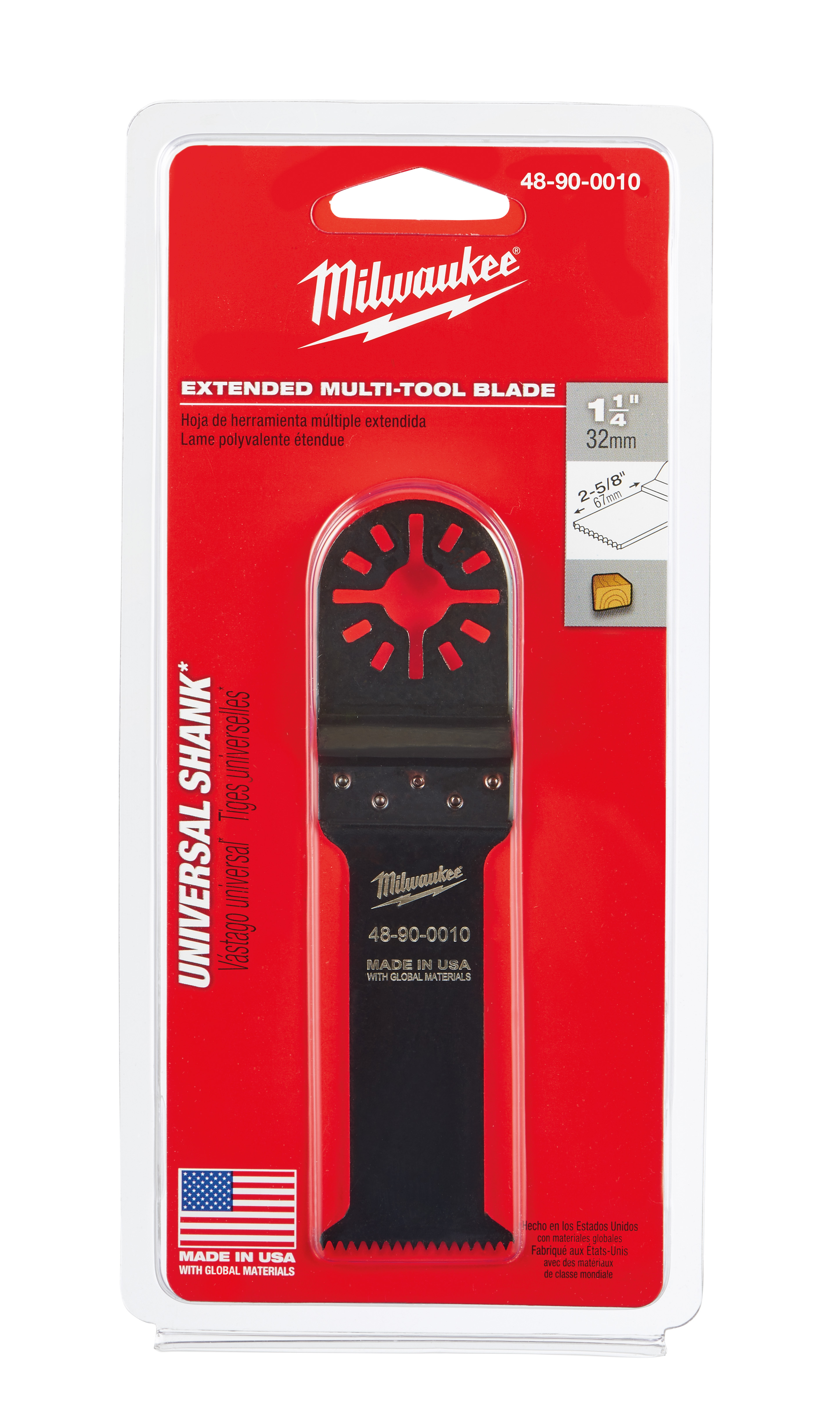 Milwaukee® 48-90-0010 Multi-Tool Blade, For Use With Oscillating Tool, 1-1/4 in Dia Cutting, High Carbon Steel