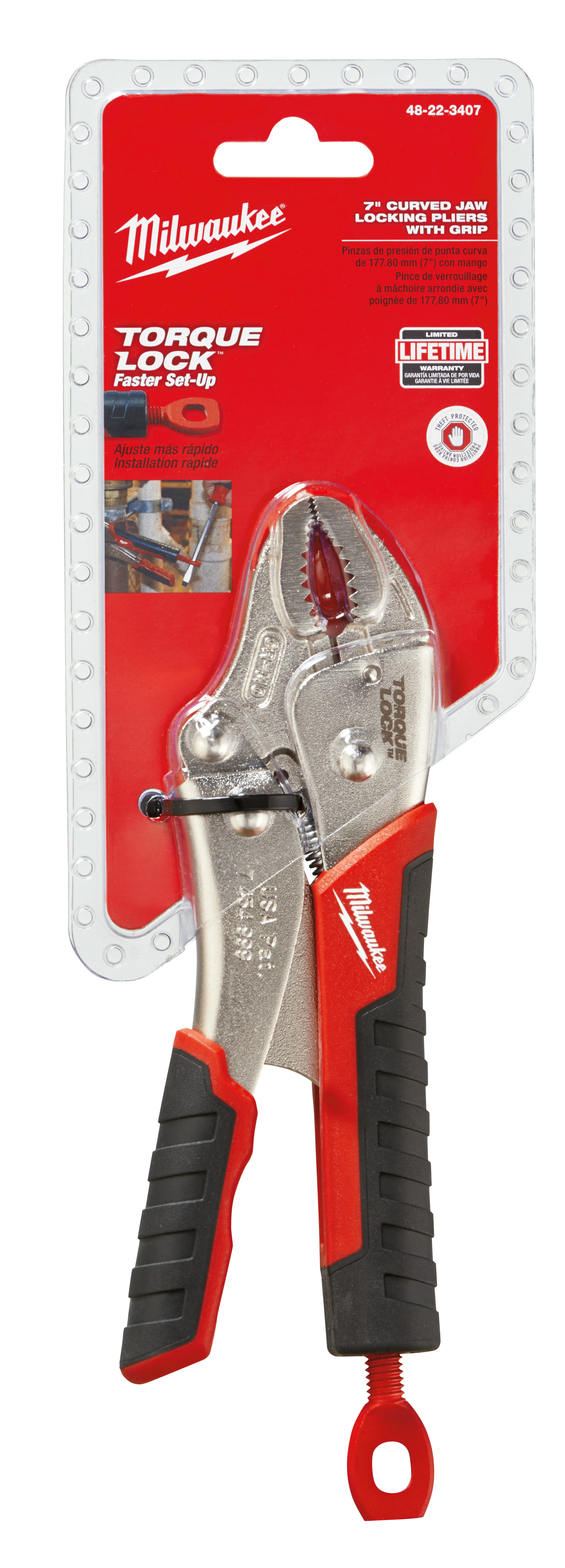 Milwaukee® TORQUE LOCK™ 48-22-3407 1-Handed Lever Locking Plier, 1 in Nominal, 1-5/64 in L x 13/32 in W x 13/32 in THK Alloy Steel Curved Jaw, 7 in OAL
