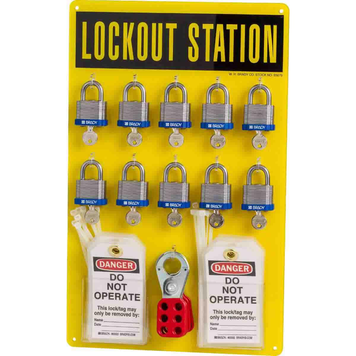 Brady® 65680 Padlock Center Lock Station, 36 Pieces, 10 Padlocks, 19 in H x 12 in W, Wall Mount