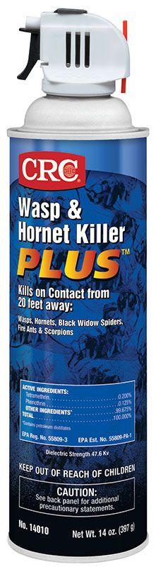 CRC® 14010 Plus™ Fast Acting Wasp/Hornet Killer, 20 oz Aerosol Can, Liquid Form, Clear, Petroleum Odor/Scent