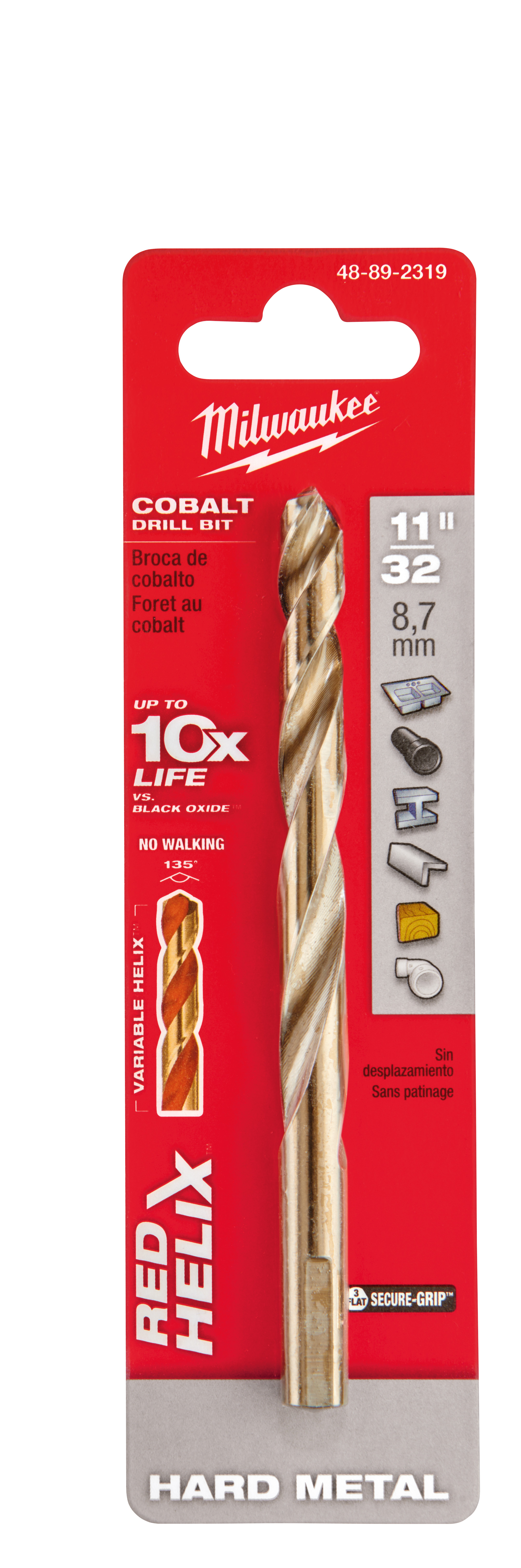 Milwaukee® 48-89-2319 RED HELIX™ Jobber Length Twist Drill Bit, 11/32 in Drill - Fraction, 0.3438 in Drill - Decimal Inch, 135 deg Point, High Speed Cobalt, Uncoated