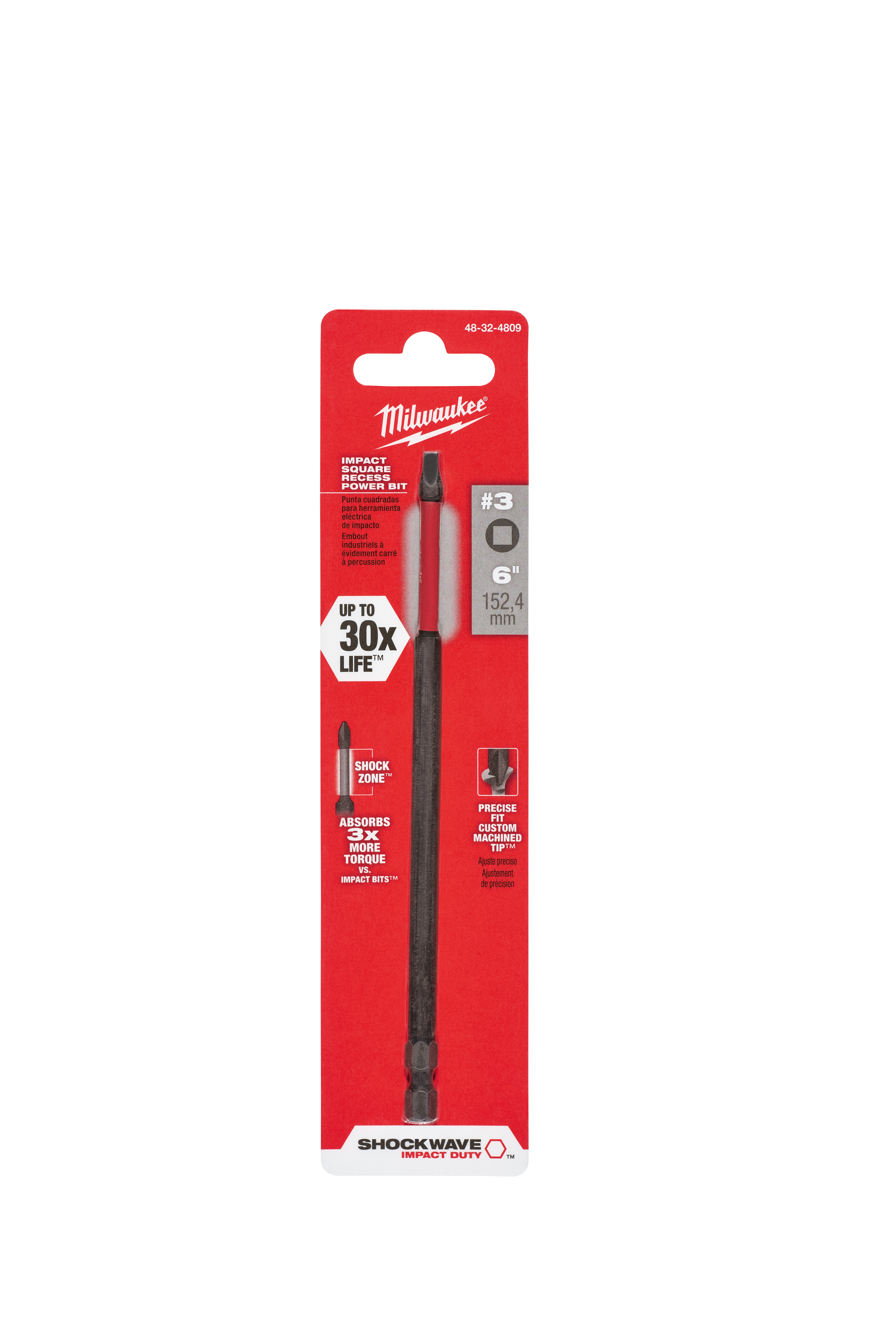 Milwaukee® SHOCKWAVE™ 48-32-4809 Magnetic Single Ended Standard Power Bit, SQ3 Square Recessed Point, 6 in OAL