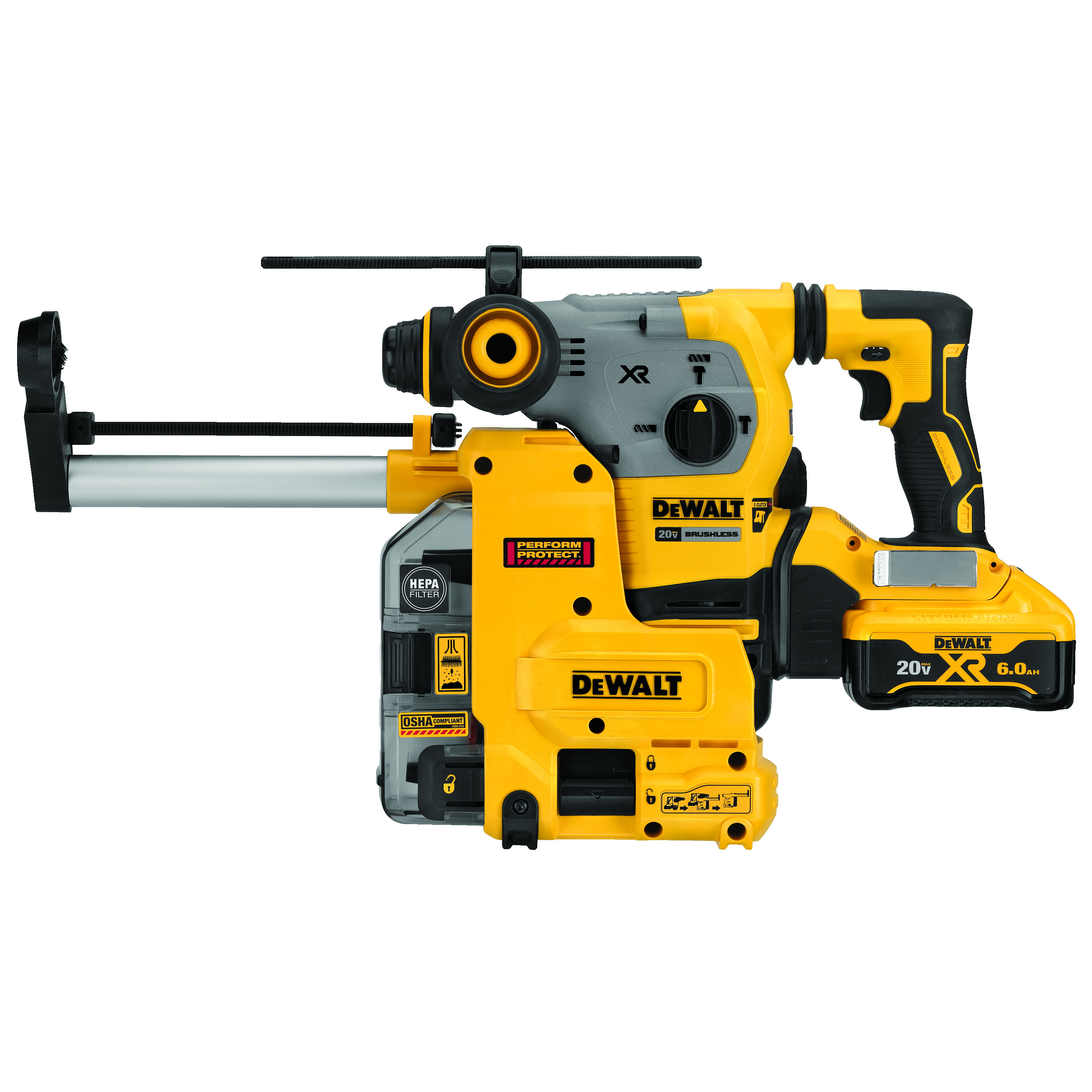 DeWALT® DCH293R2DH L-Shape Cordless Rotary Hammer Kit With Dust Collection, 1-1/8 in SDS Plus® Chuck, 20 VDC, 0 to 1000 rpm No-Load, Lithium-Ion Battery