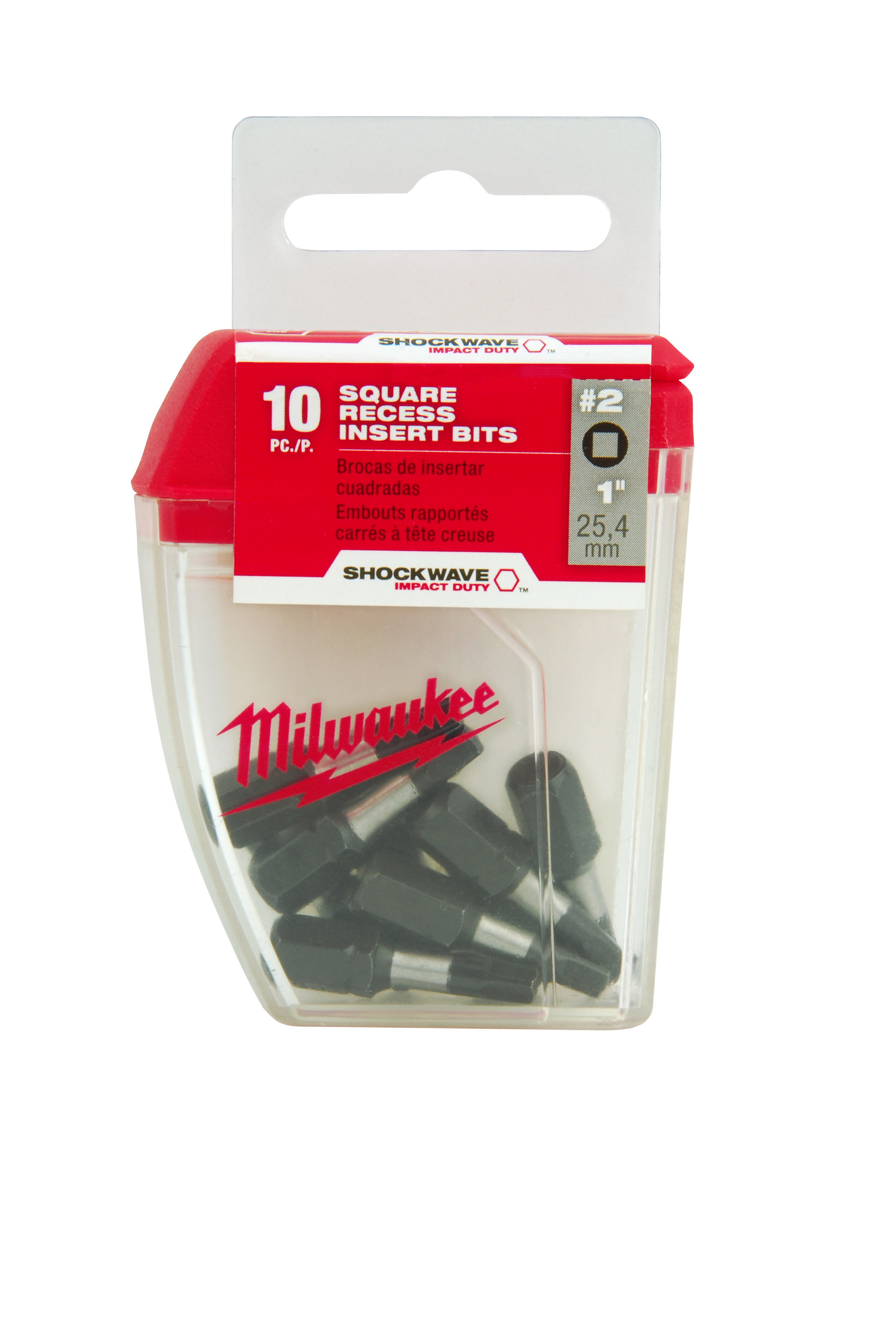 Milwaukee® SHOCKWAVE™ 48-32-5008 Impact Insert Bit, #2 Square Recessed Point, 1 in OAL, 1/4 in, Alloy Steel