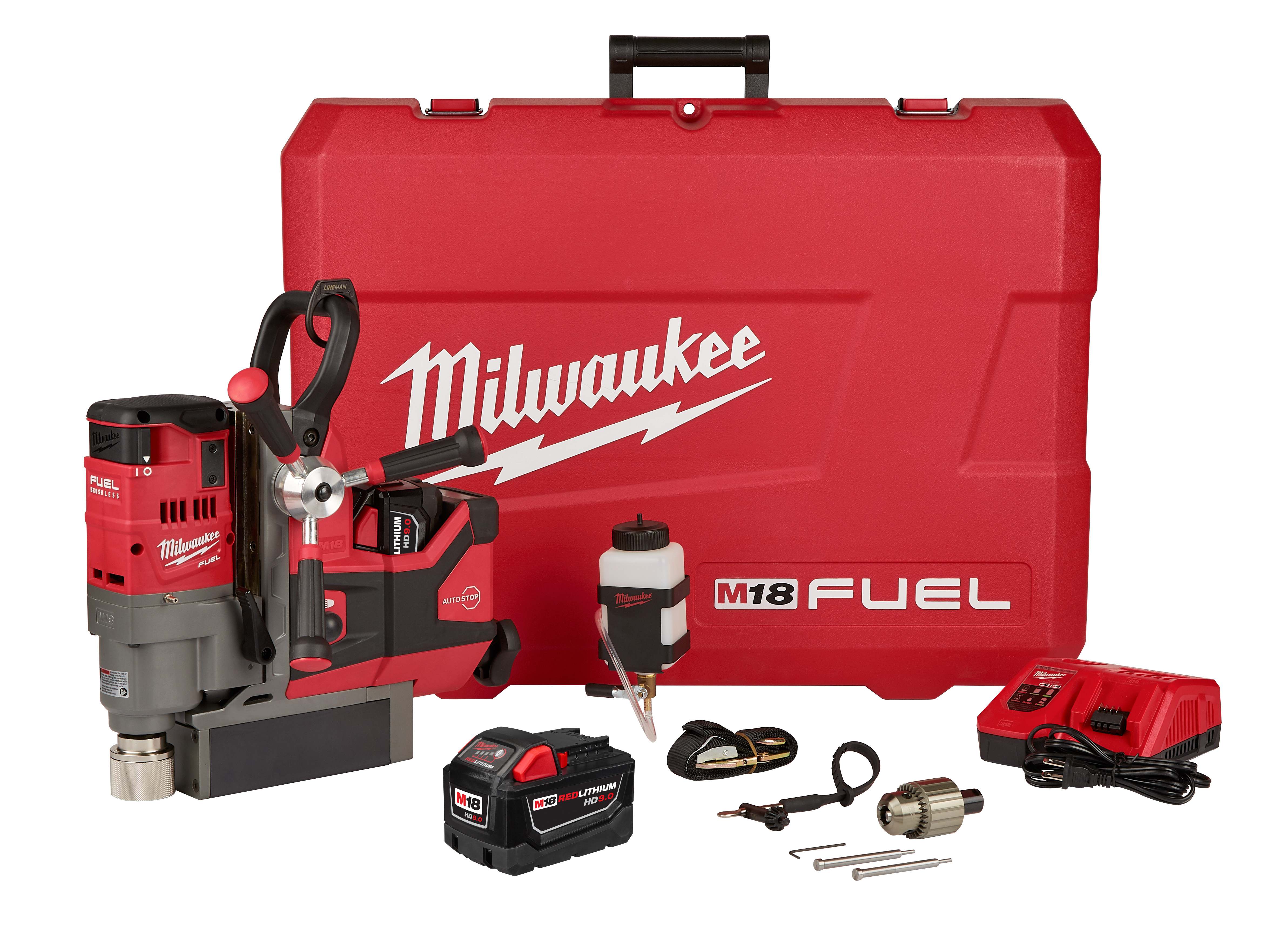 Milwaukee® M18™ FUEL™ 2788-22HD Magnetic Drill Kit, 3/4 in Chuck, 18 VDC, 400/690 rpm No-Load, Lithium-Ion Battery